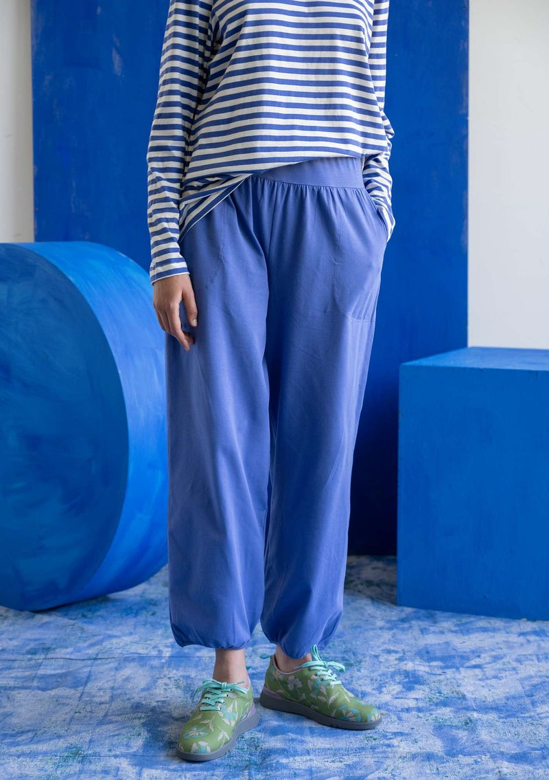 Organic cotton/elastane jersey trousers sky blue