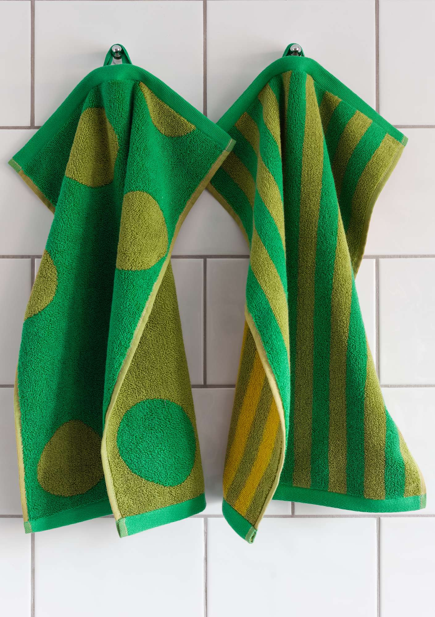 """Solig"" organic cotton guest towels, 2-pack asparagus"