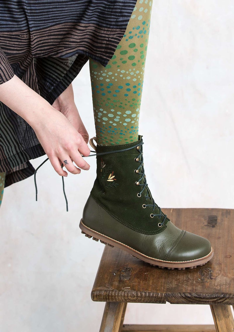 """Forest"" lace-up boots in nappa/nubuck ivy"