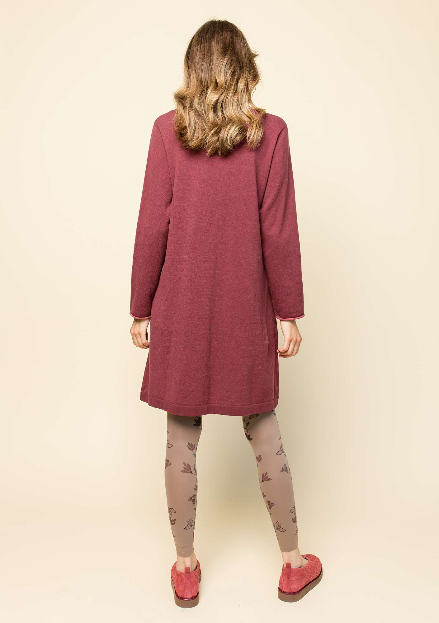 Plated tunic in organic cotton beetroot