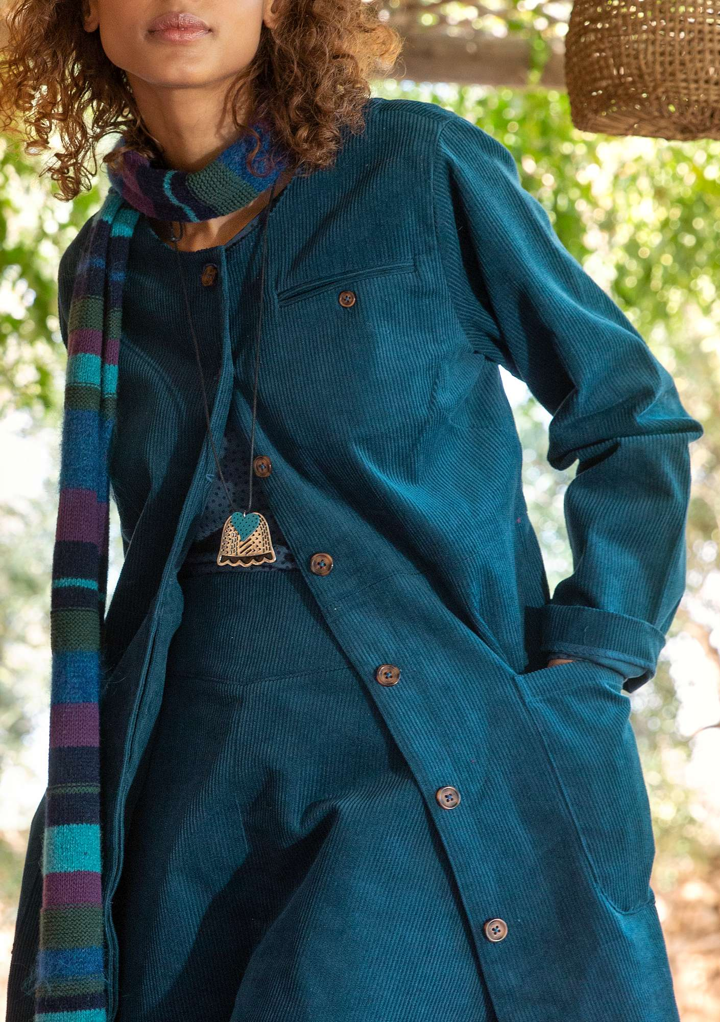 Coat in organic cotton corduroy dark petrol blue