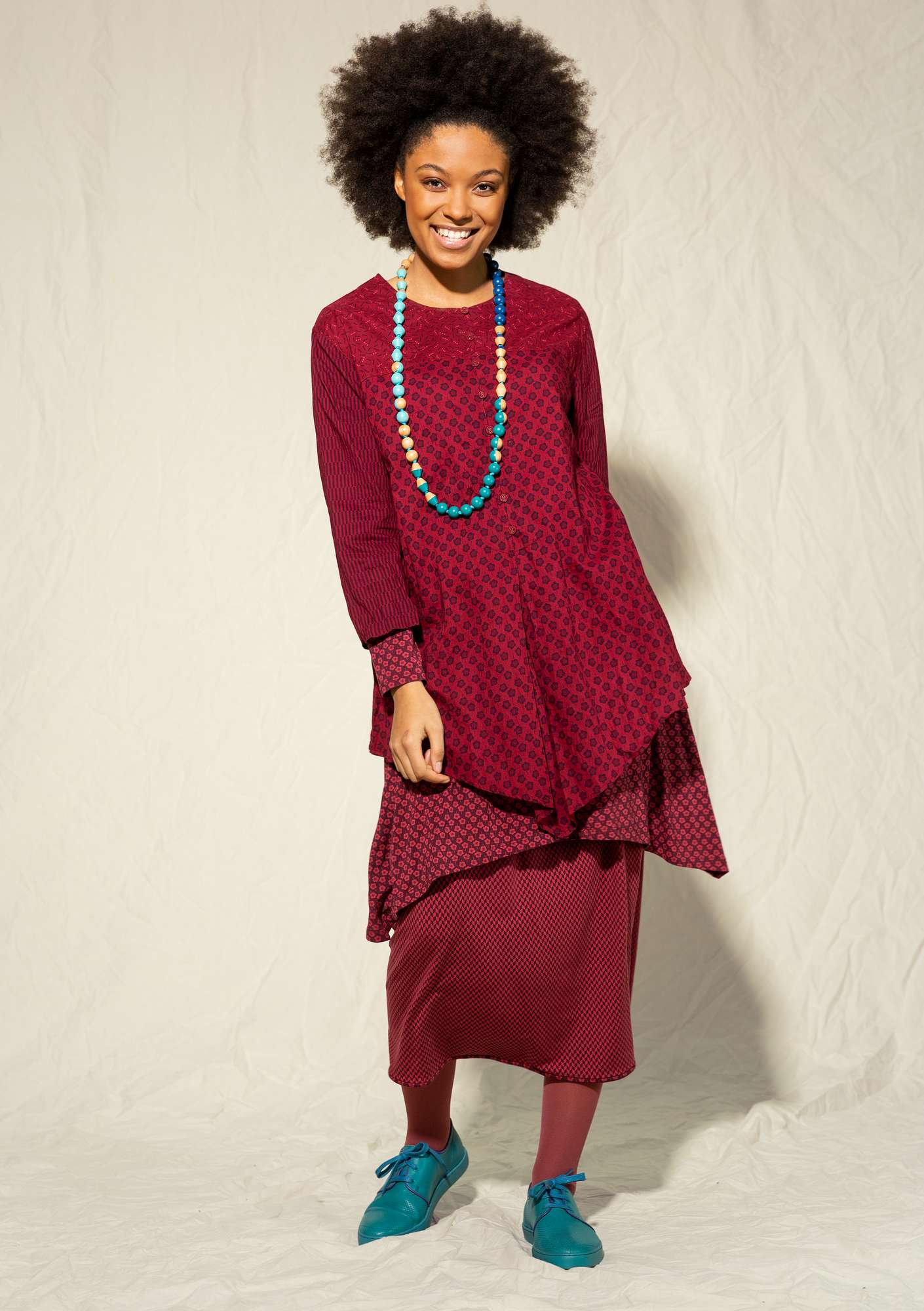 """Myrten"" blouse in organic cotton pomegranate"