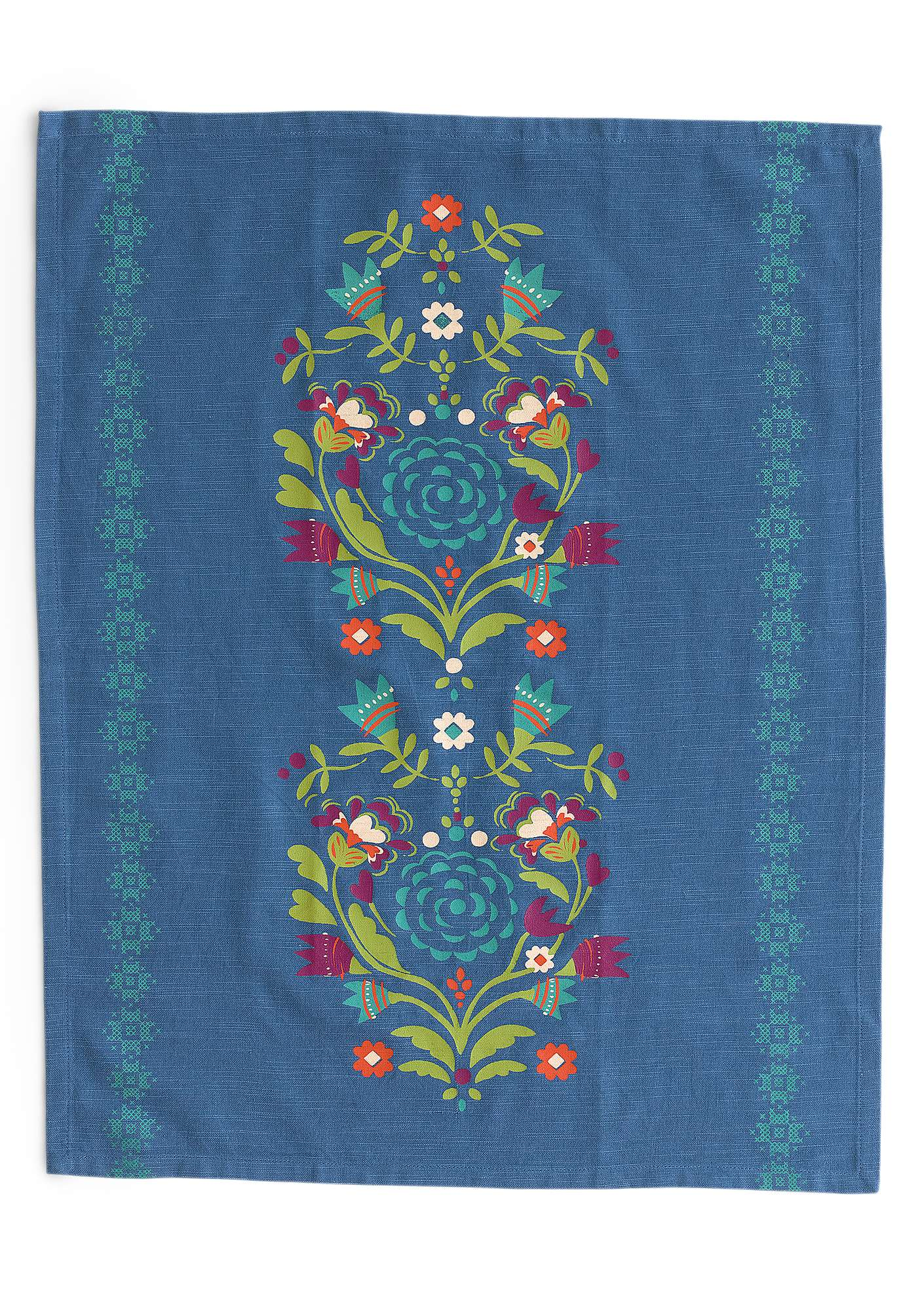 """Småland"" organic cotton tea towel flax blue"