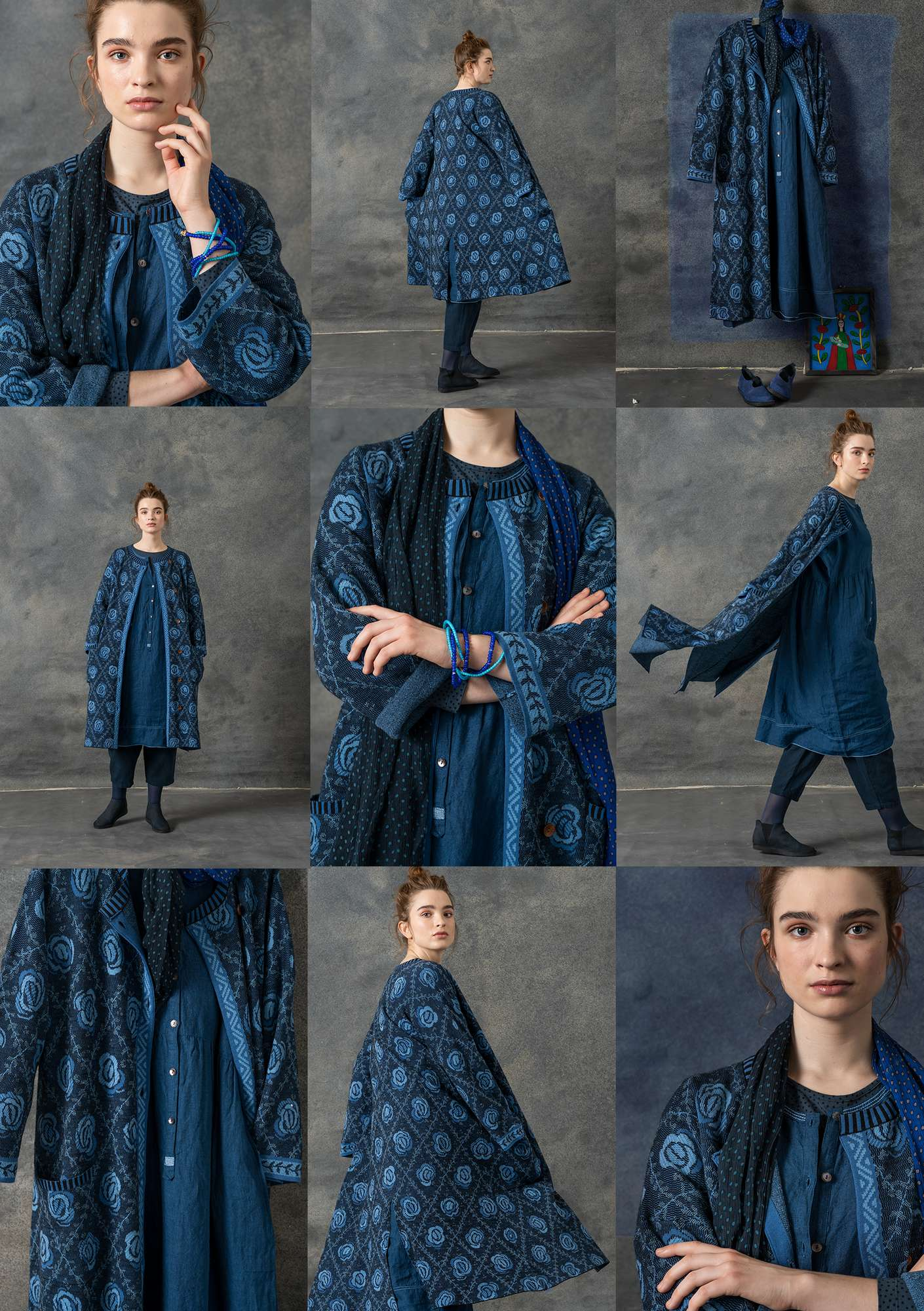 """Brokad"" coat in wool/organic cotton indigo"