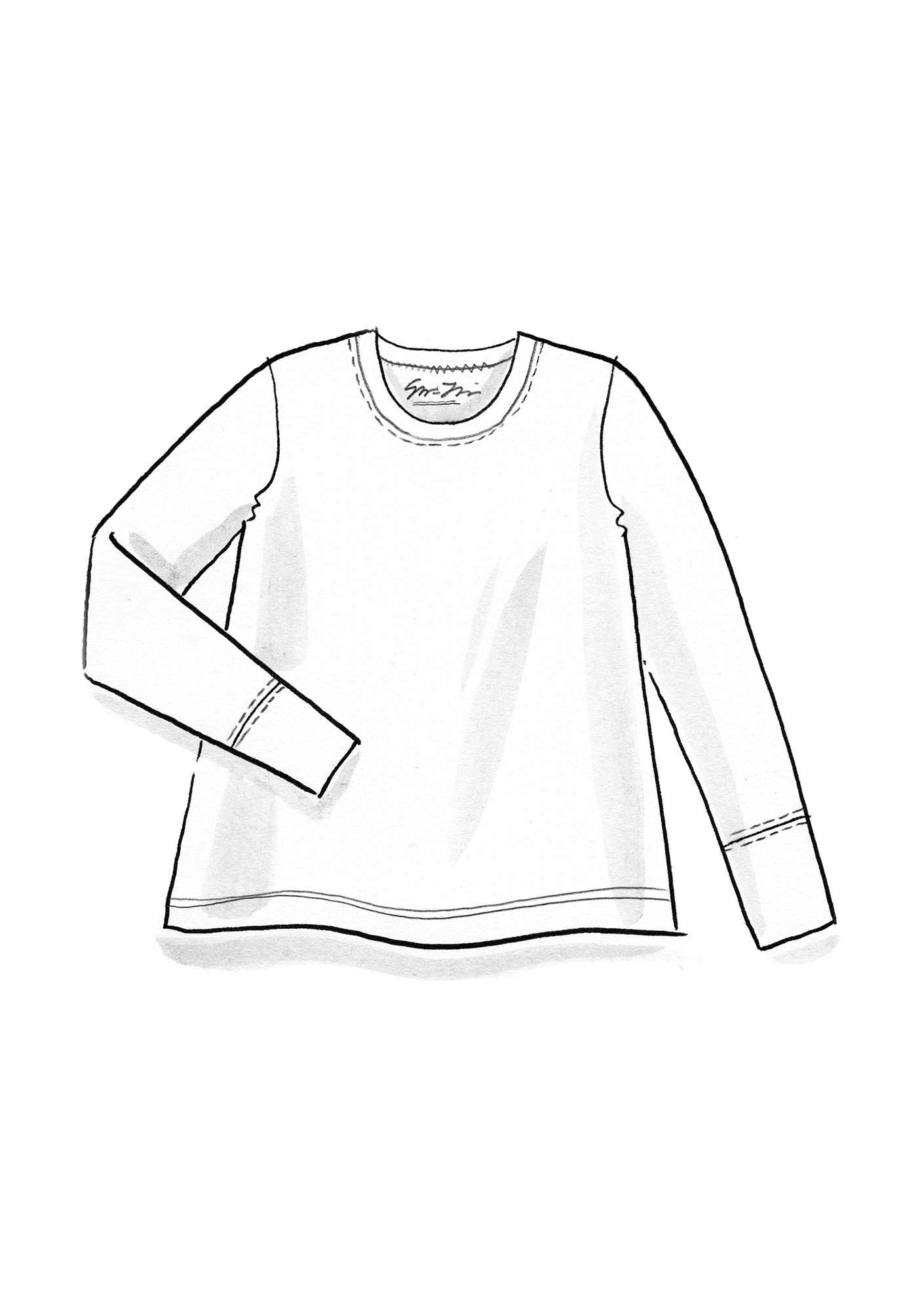Long-sleeve top in organic cotton/spandex nectar