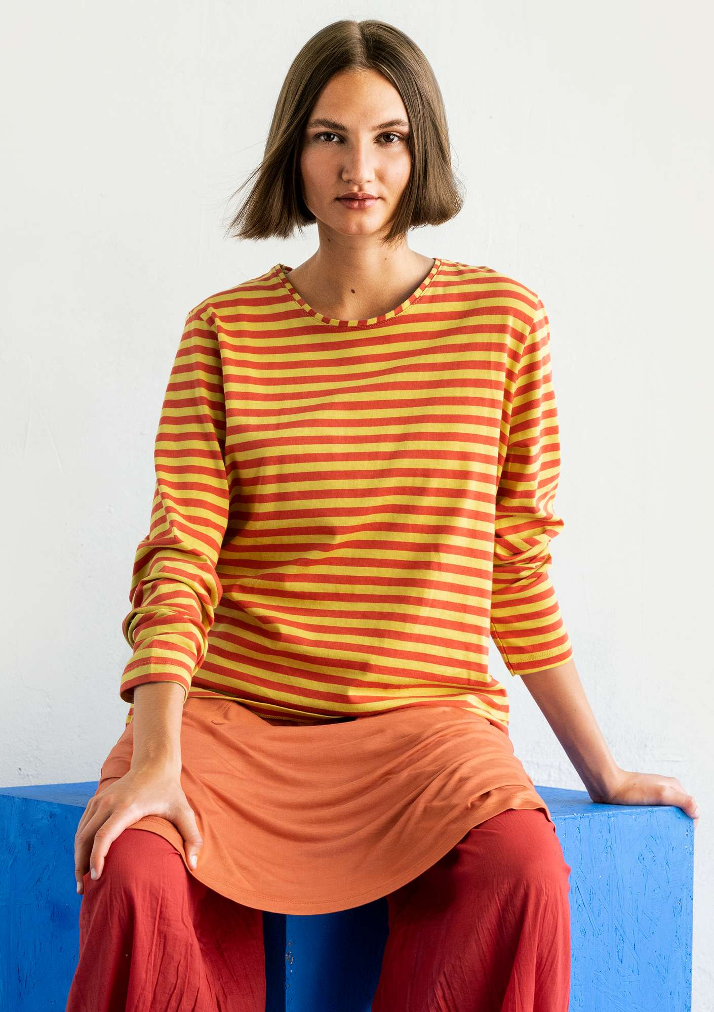 Organic cotton essential striped sweater pineapple/rowan