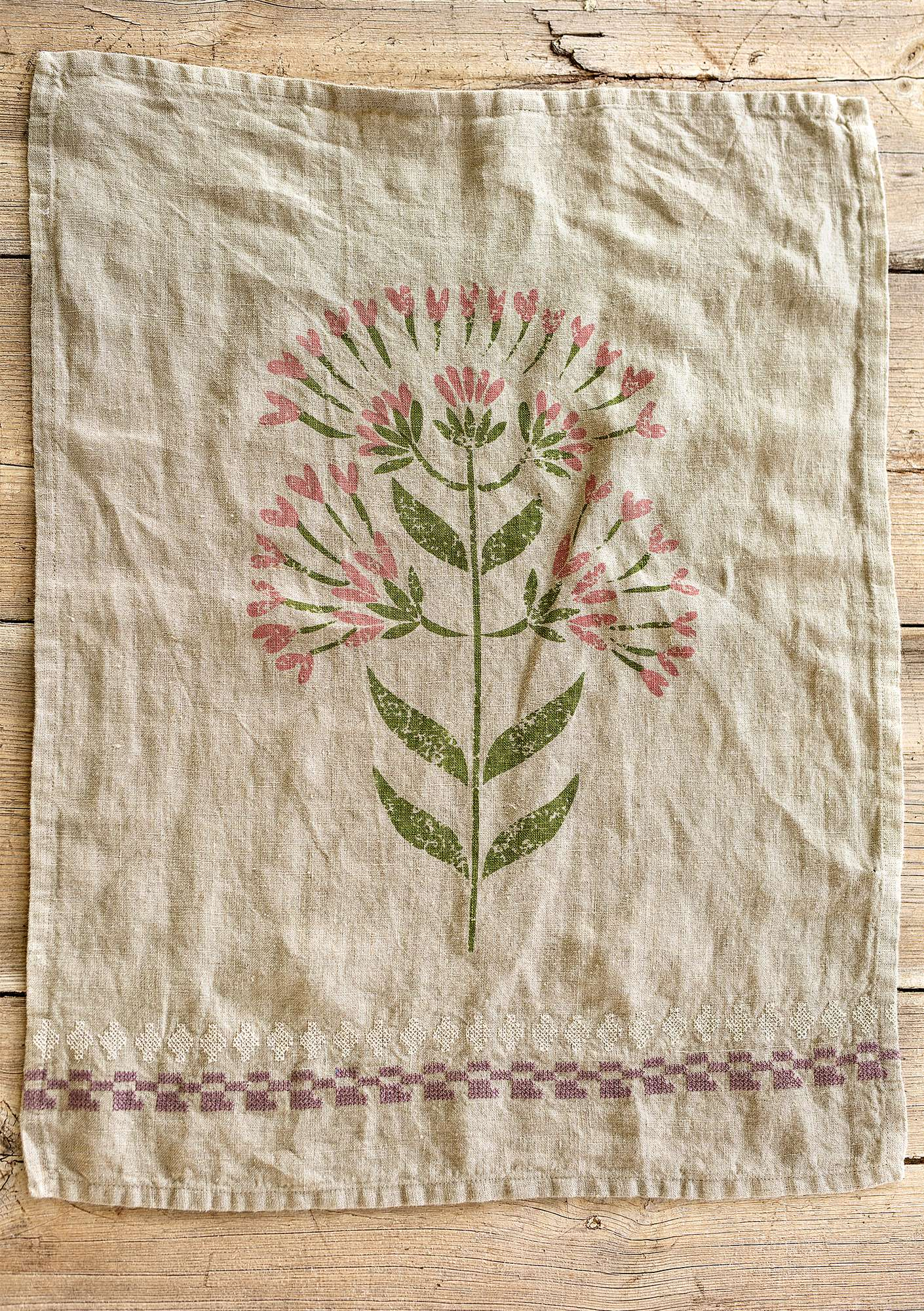 """Oregano"" linen tea towel natural"