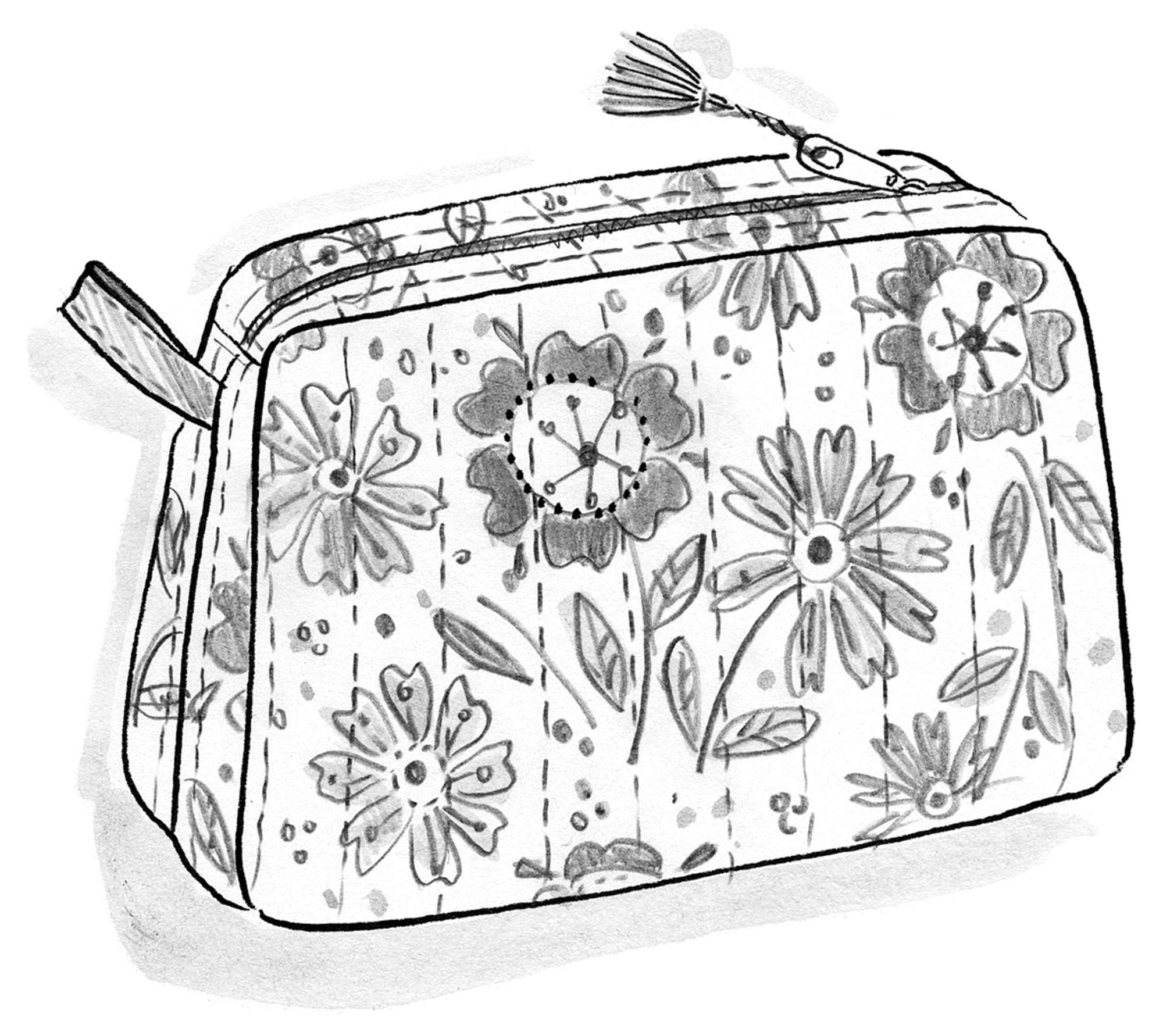 """Calendula"" block-printed eco-cotton makeup bag"