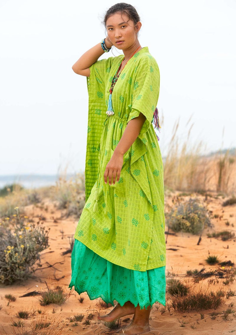 """Thar"" organic cotton dress tropical green"