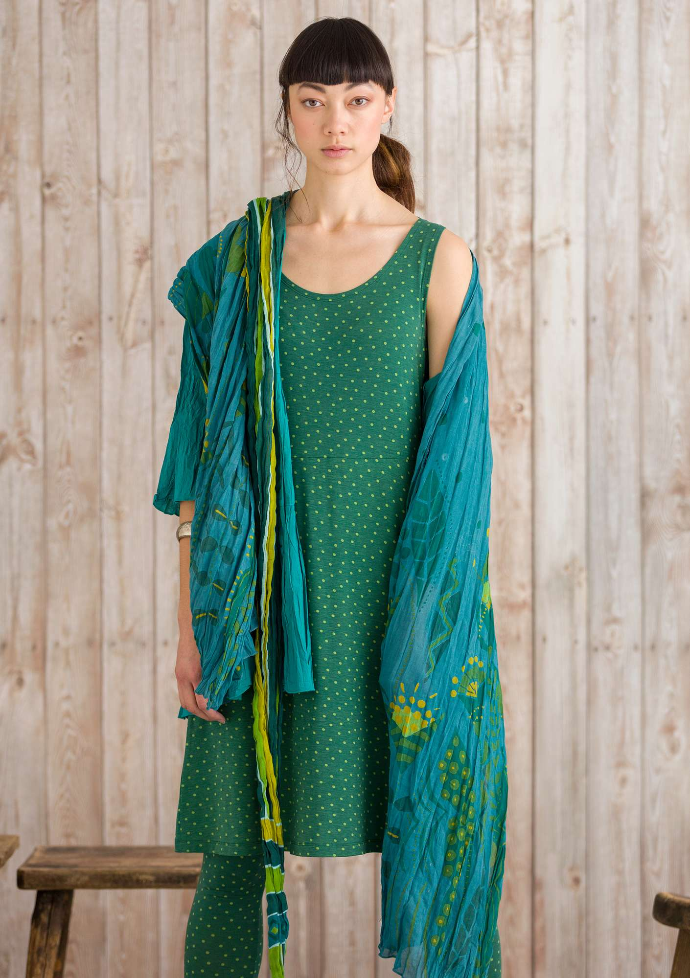 """Petronella"" organic cotton shawl verona green"