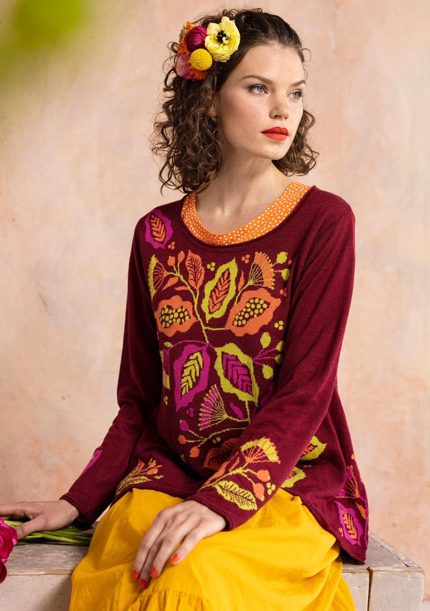 Flamenco knitted sweater cranberry
