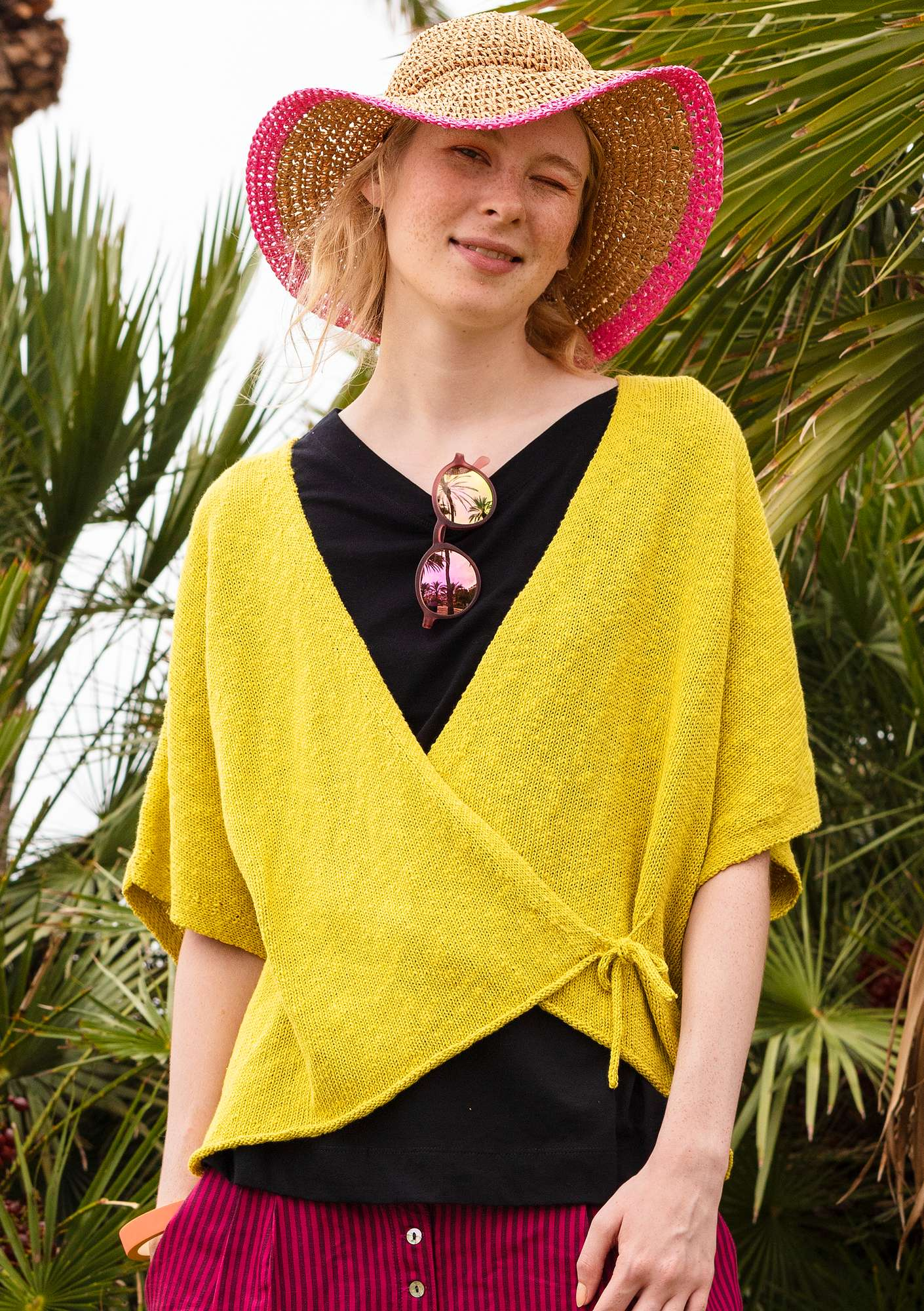 Wrap cardigan in eco-cotton/eco-linen dijon