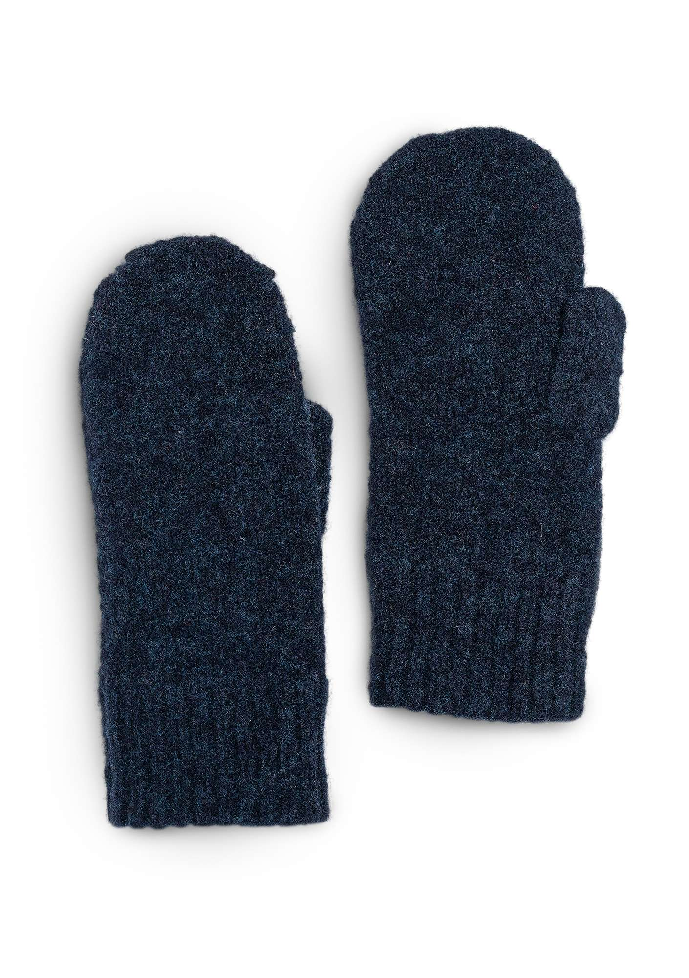 Knitted mittens in a recycled cashmere blend dark indigo