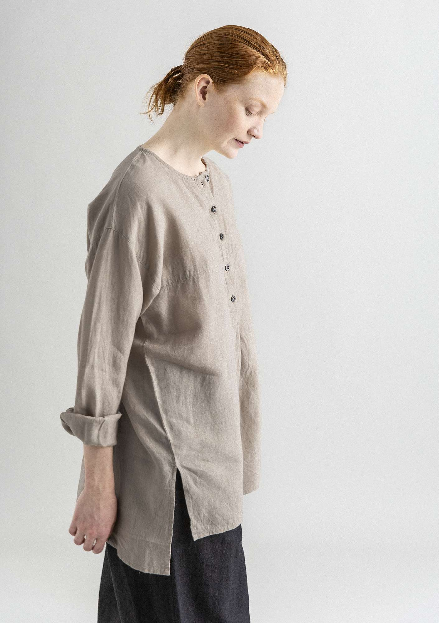 Linnen blouse NICE donkernaturel