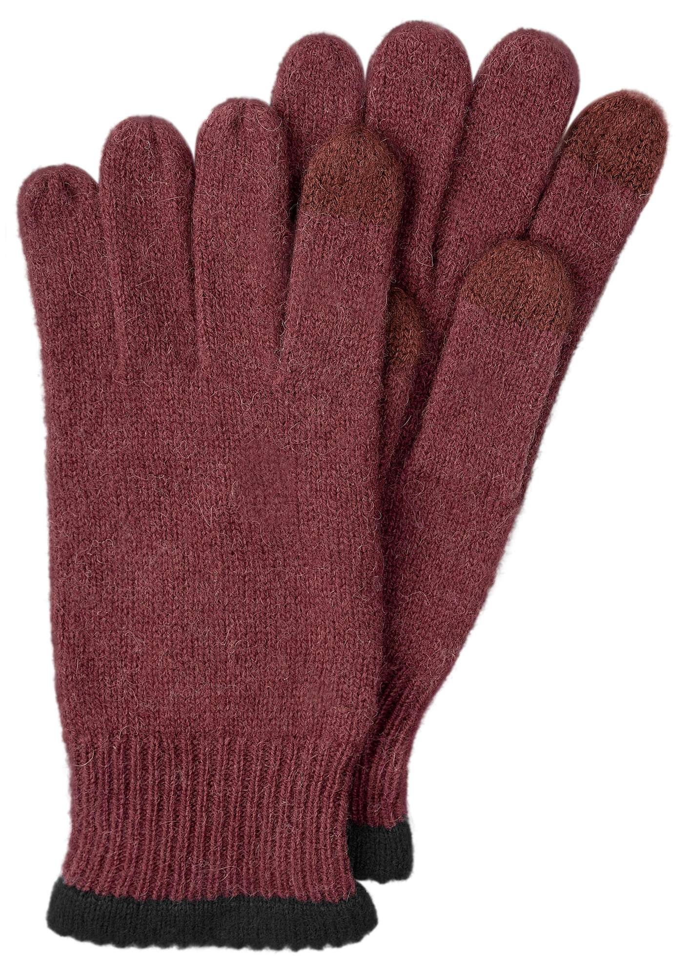 Alpaca blend gloves with touchscreen function beetroot