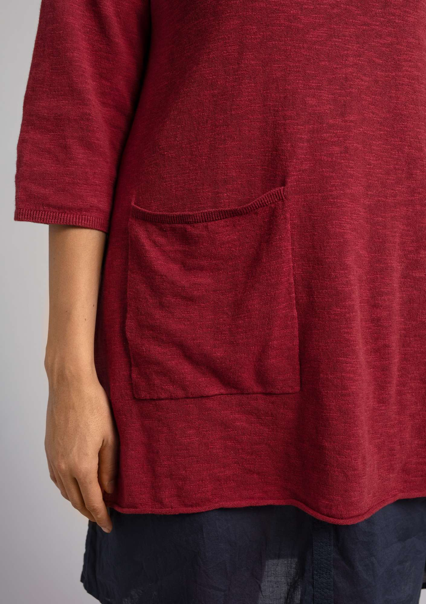 Tunic in organic cotton/linen pomegranate