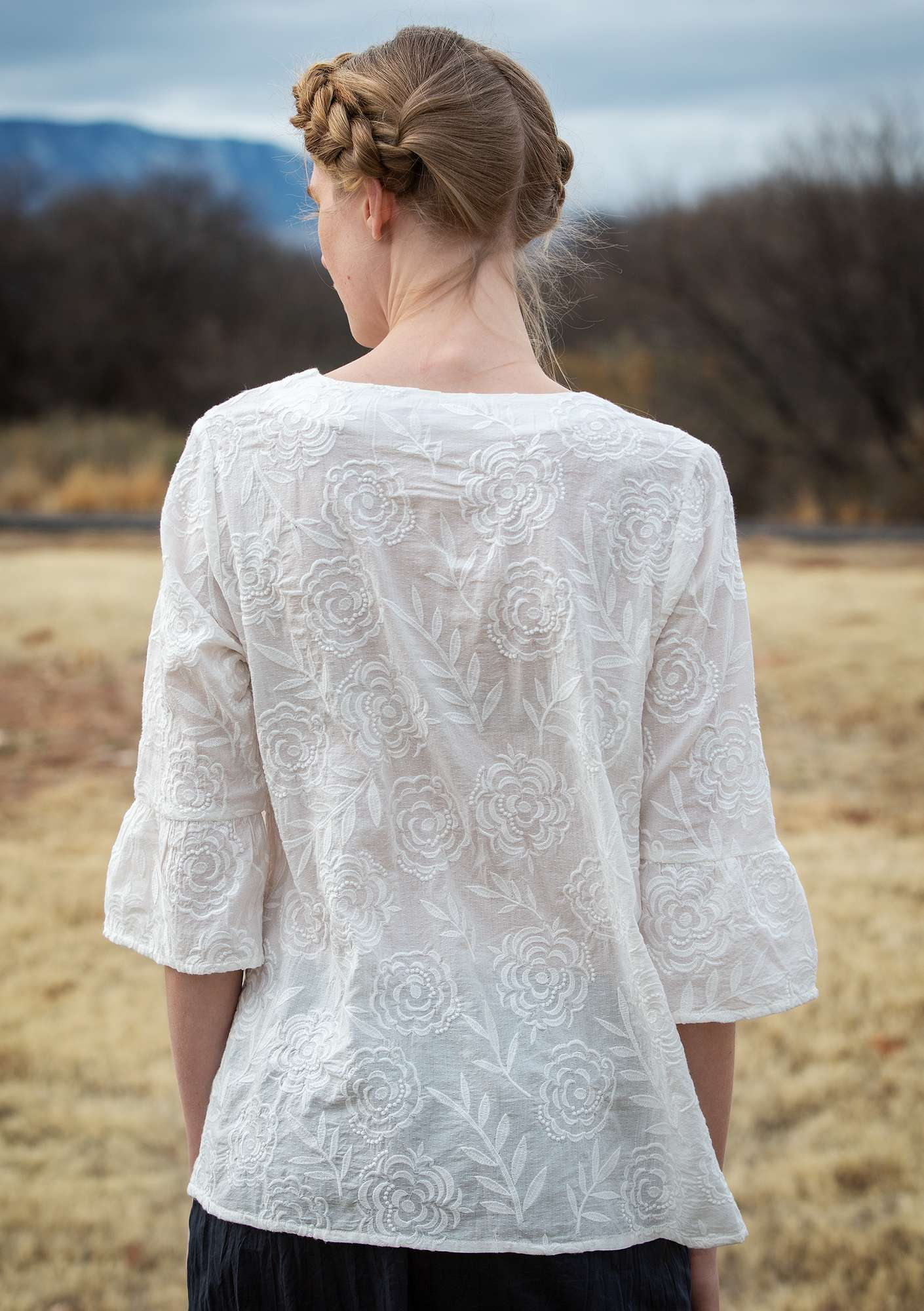 """Sunday"" blouse in organic cotton offwhite"