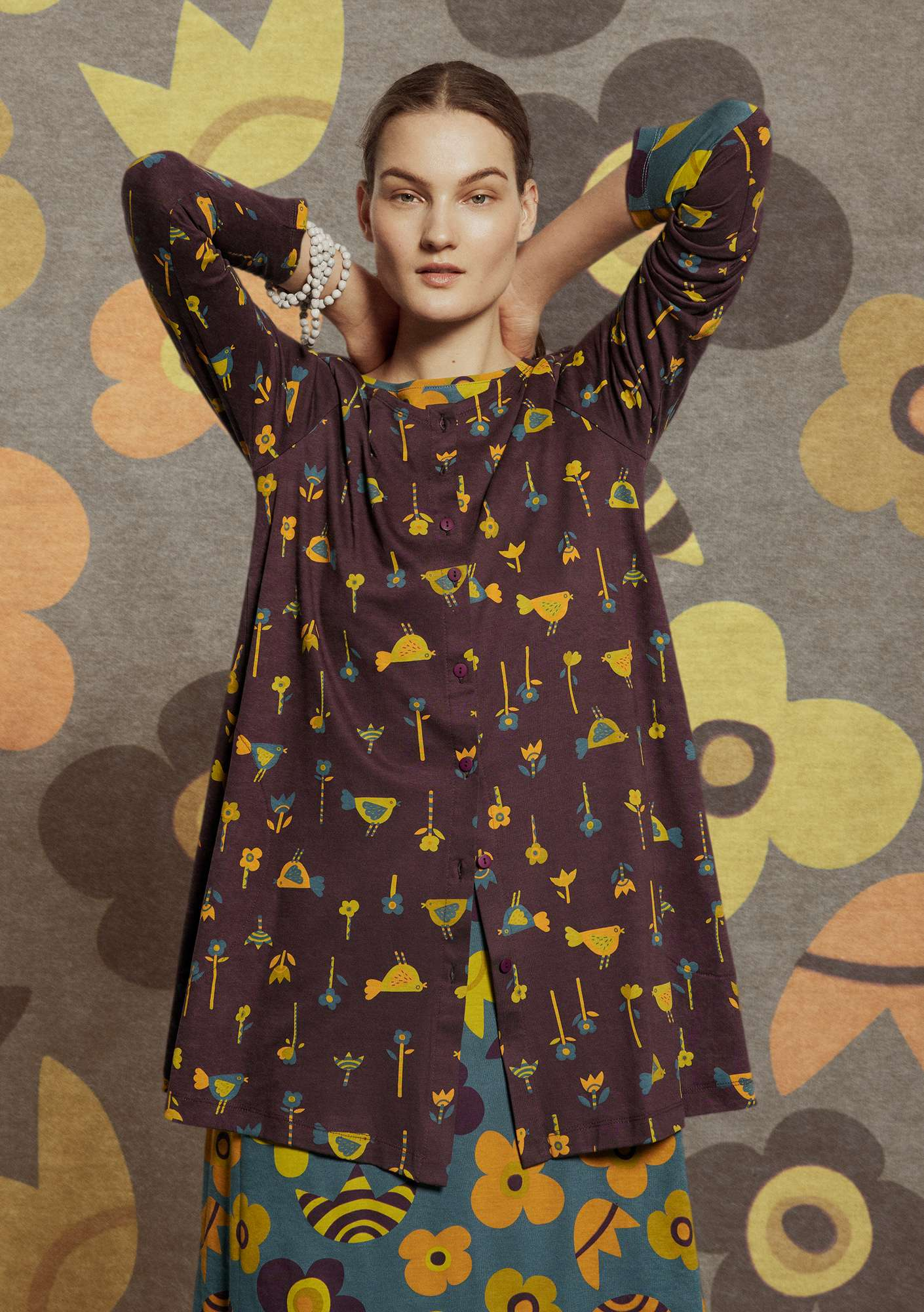 """Bofink"" tunic in eco-cotton/modal dark aubergine"