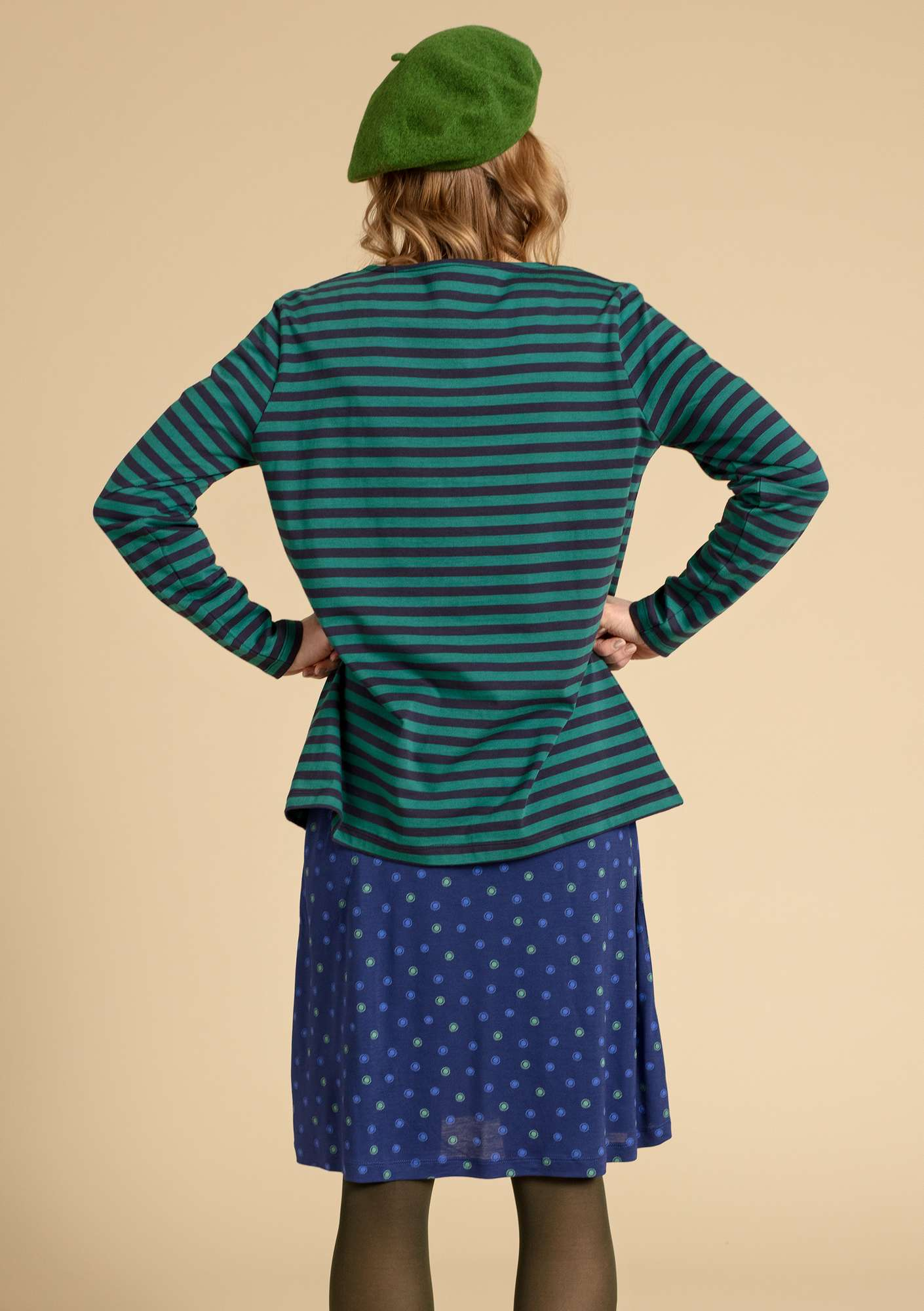 Basic striped shirt in organic cotton ink blue/light bottle green