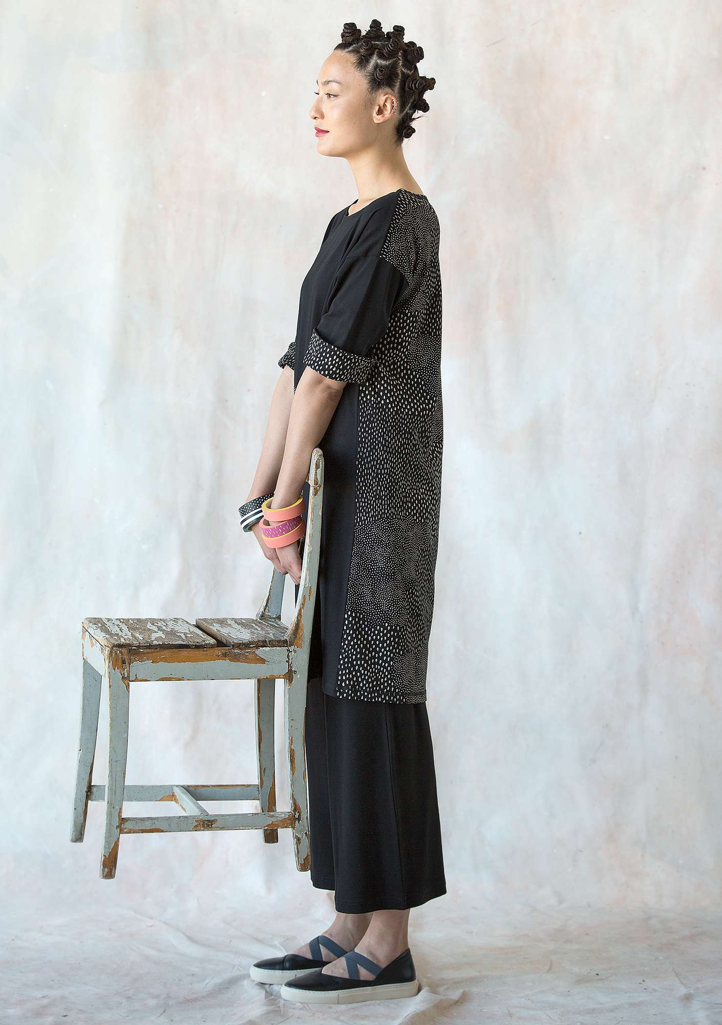 """Drip-drop"" dress in eco-cotton black"