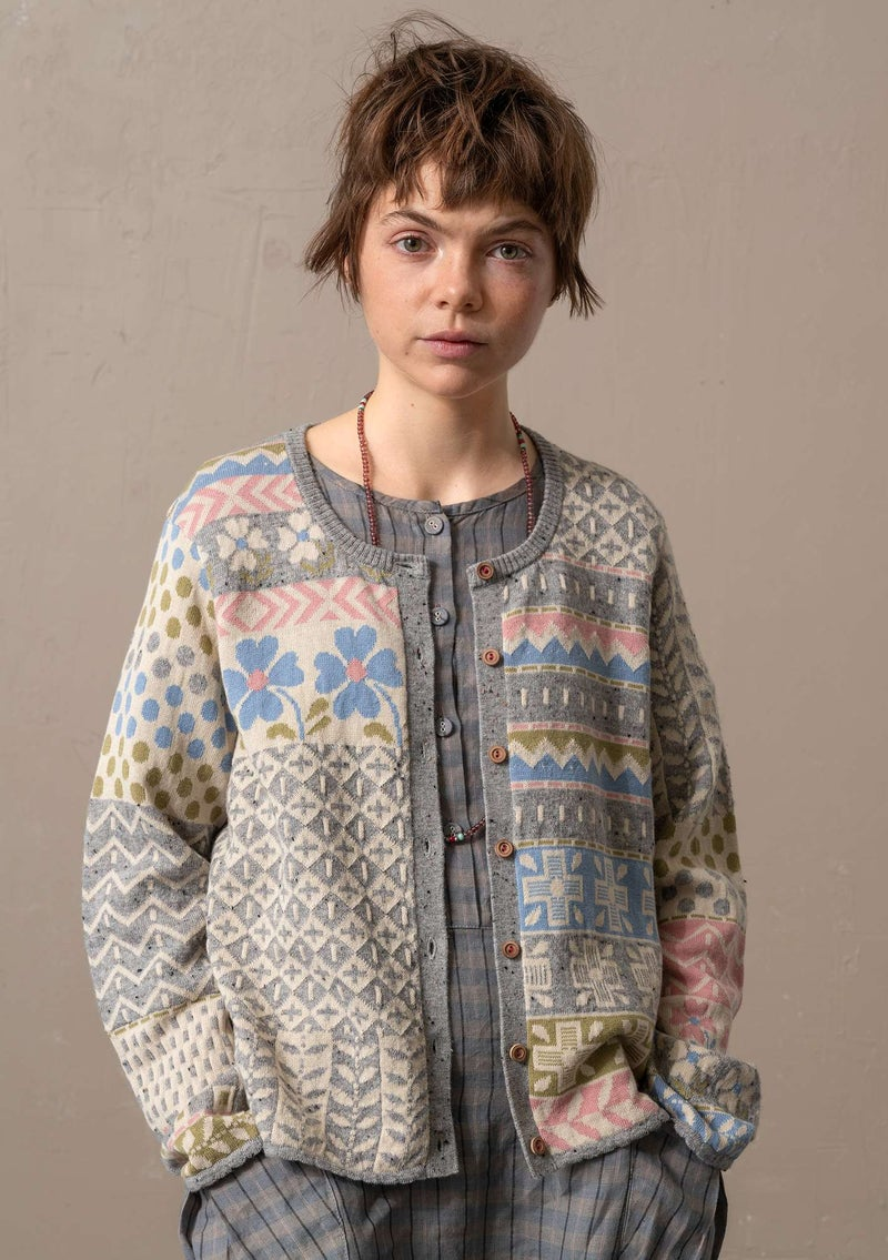 """Edith"" lambswool/recycled cotton cardigan light grey melange"