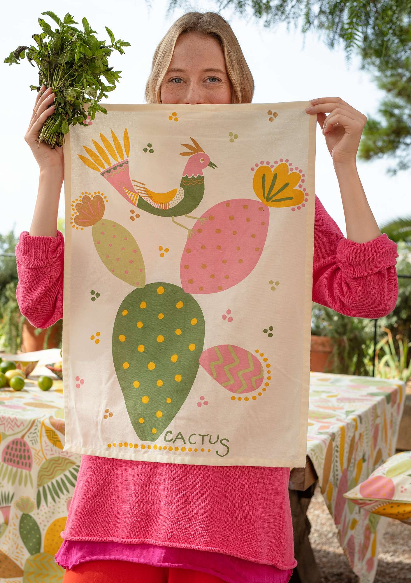 """Cactus"" kitchen towel in eco-cotton, 2-pack apple green"