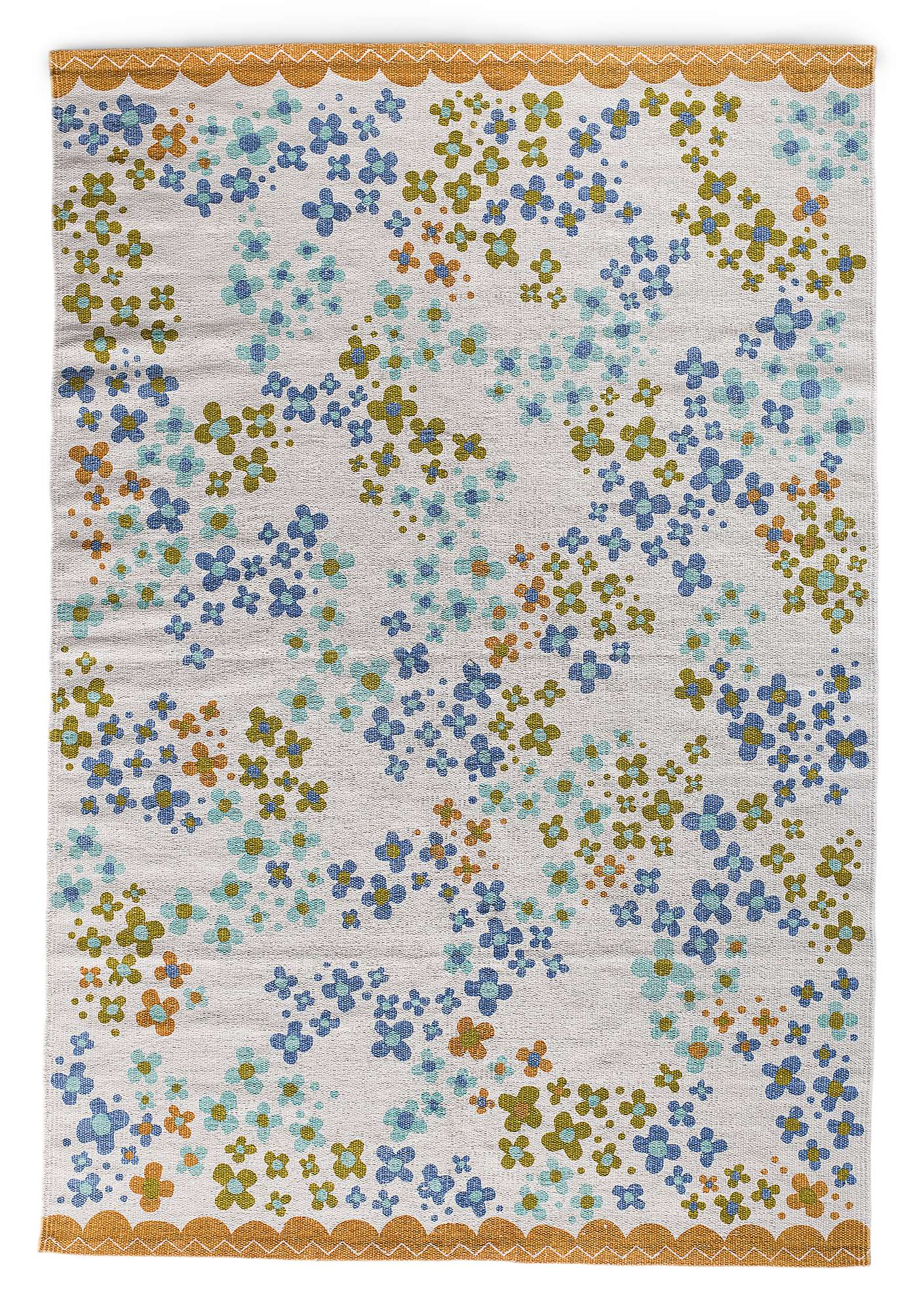 """Blomsteräng"" cotton mat natural"