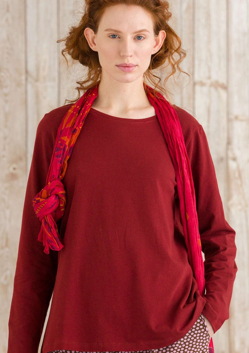 """Petite"" top in organic cotton/spandex agate red"