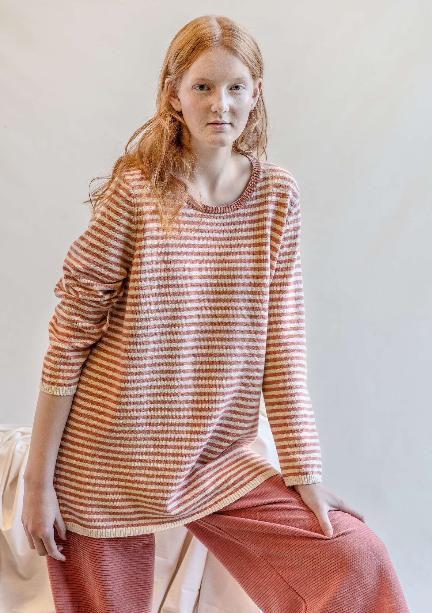 Striped-knit organic cotton sweater lily