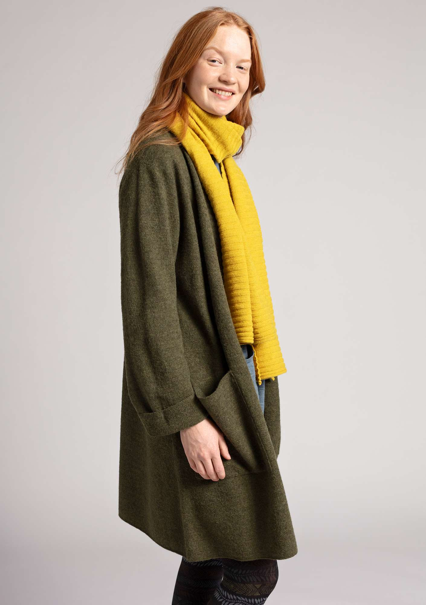 Long cardigan in felted wool fir/melange