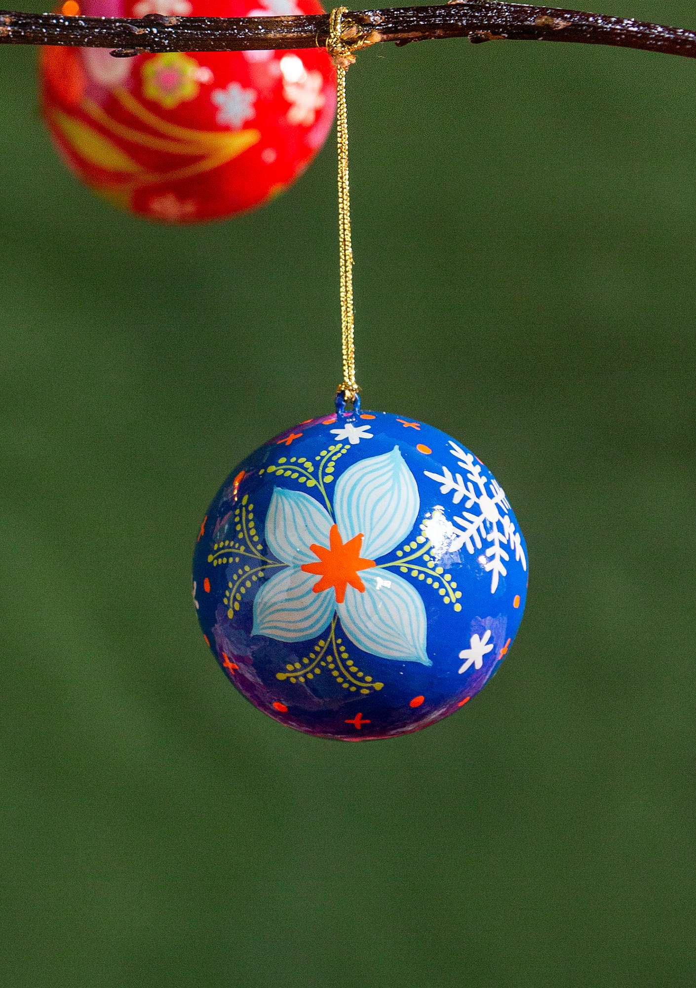Papier maché holiday ornament porcelain blue