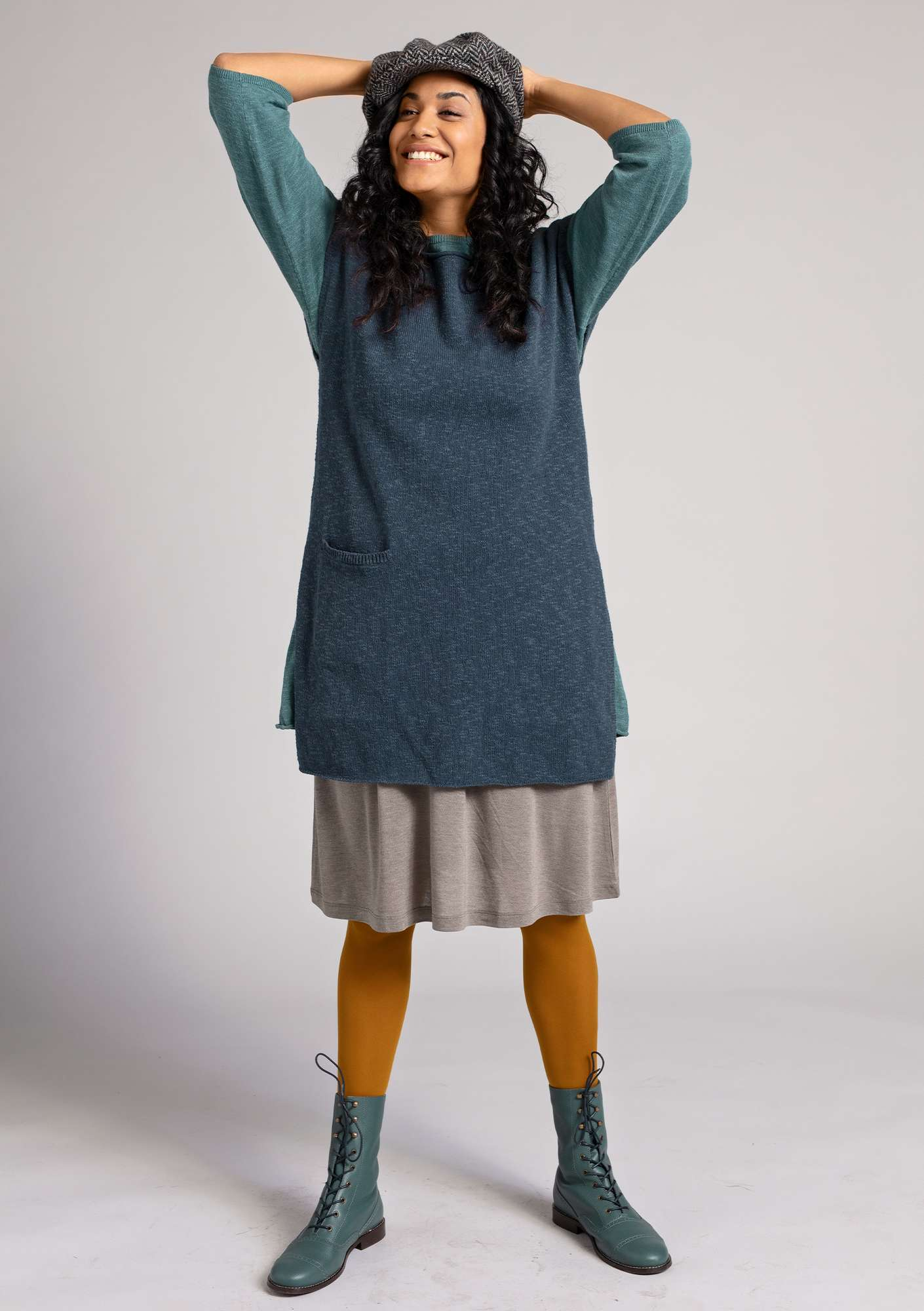 Sleeveless tunic in eco-cotton/linen ink blue