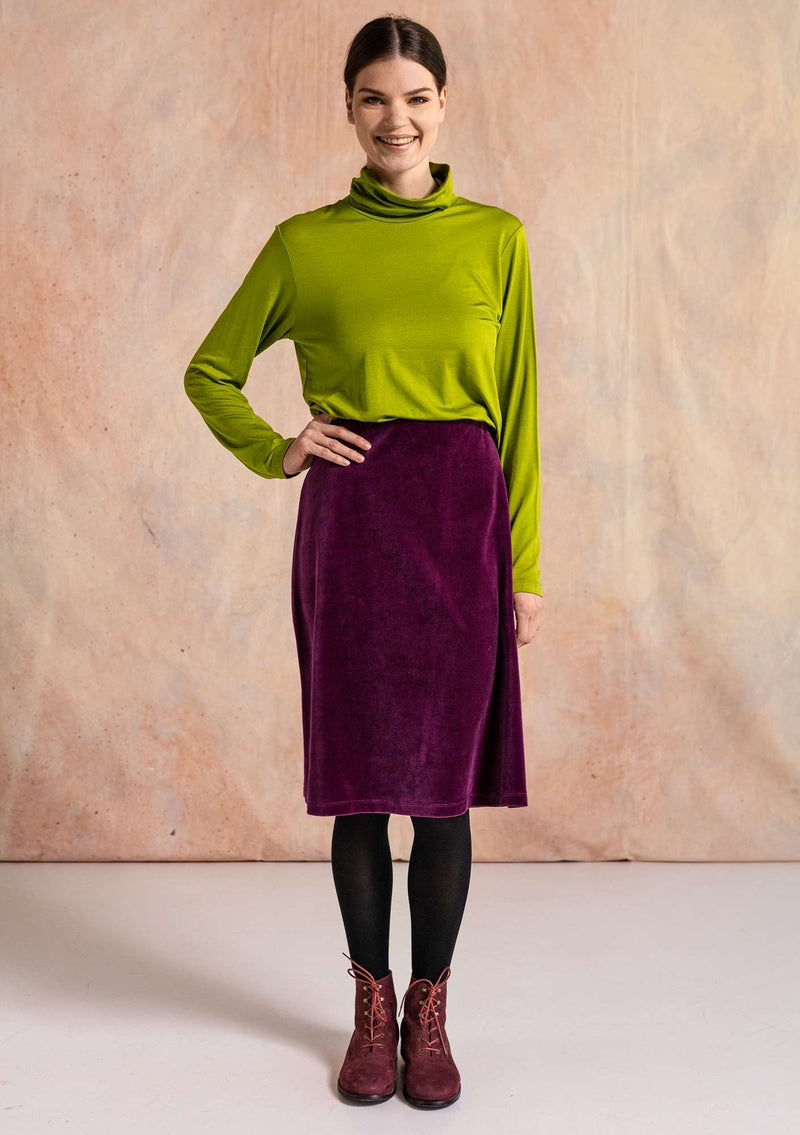 Velour skirt in organic cotton/recycled polyester grape