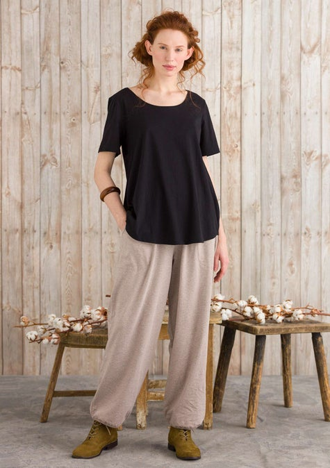 Petite trousers light potato melange