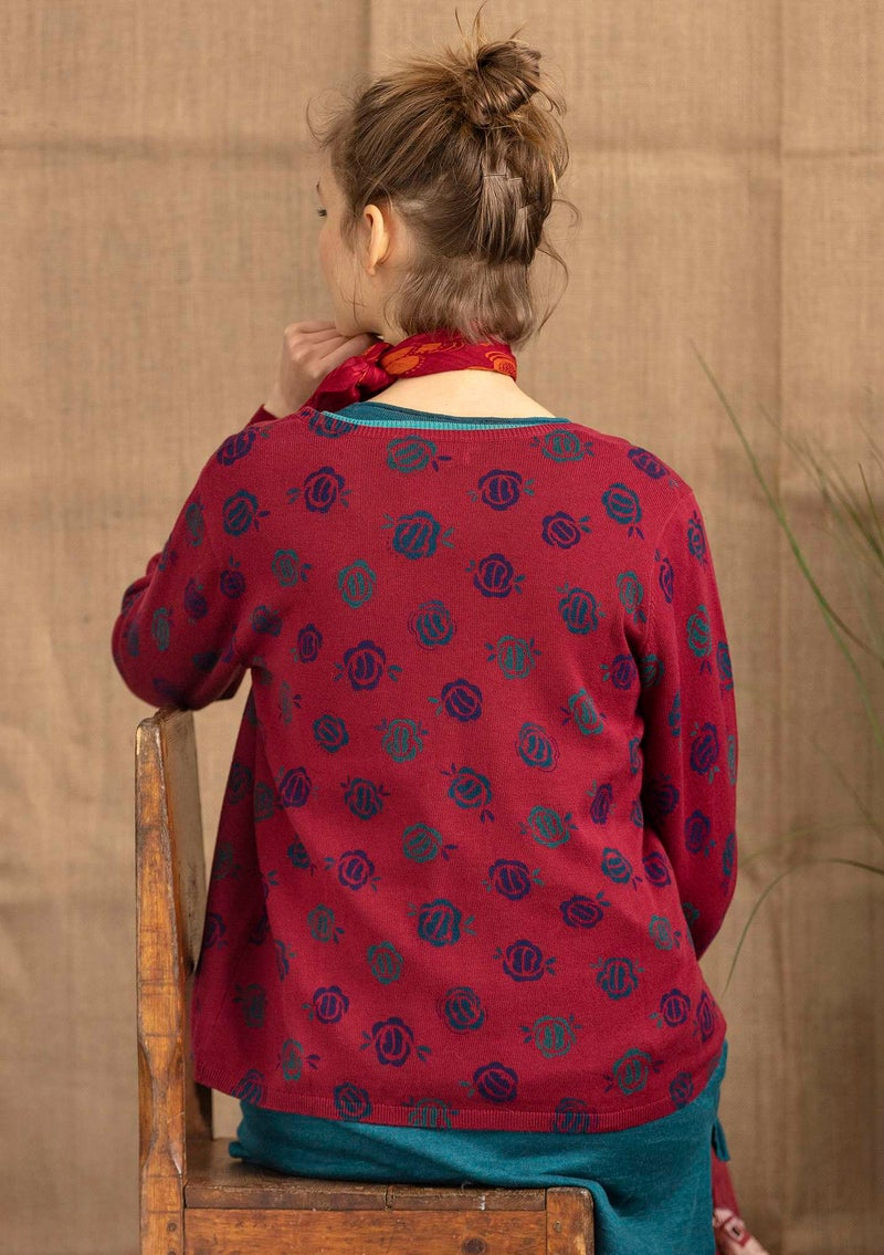 """Linros"" cardigan in organic cotton cranberry/patterned"