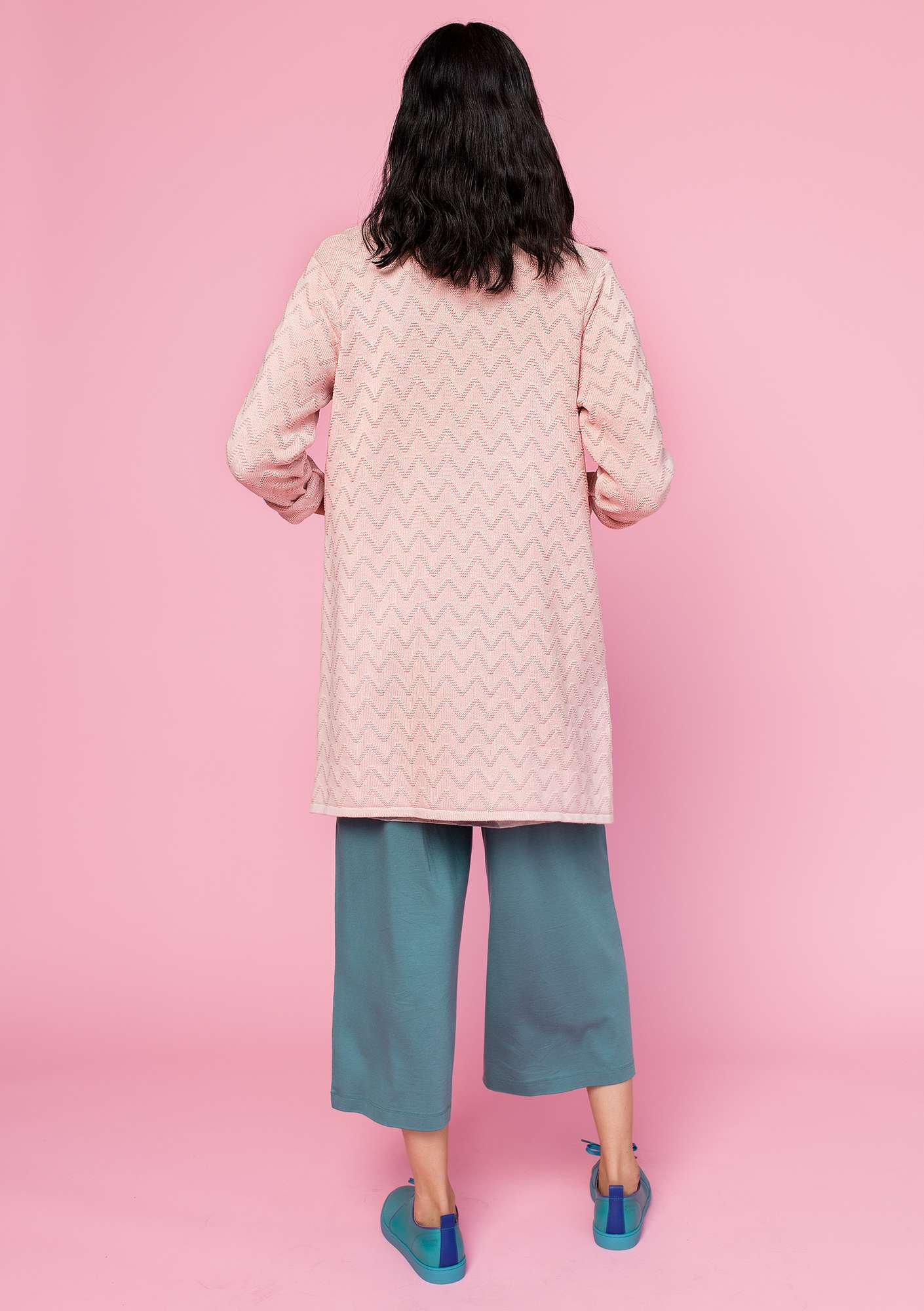 """Zigrid"" cardigan in organic cotton dusky pink"