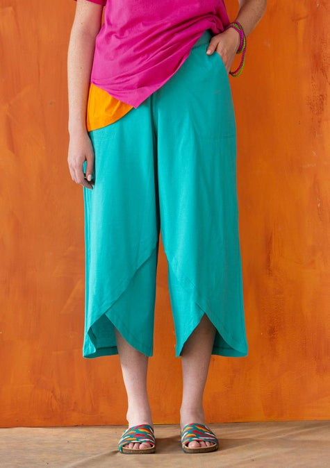 Overlapping jersey pants turquoise