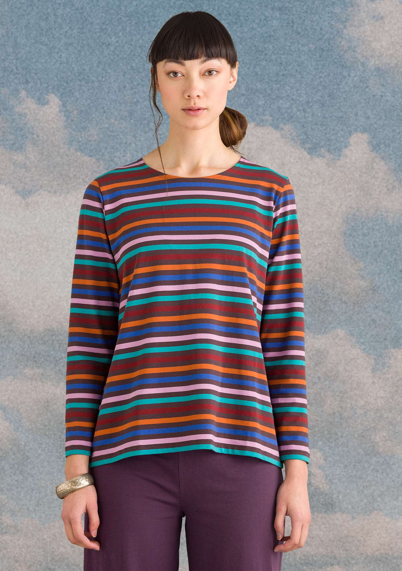 Striped top multicoloured