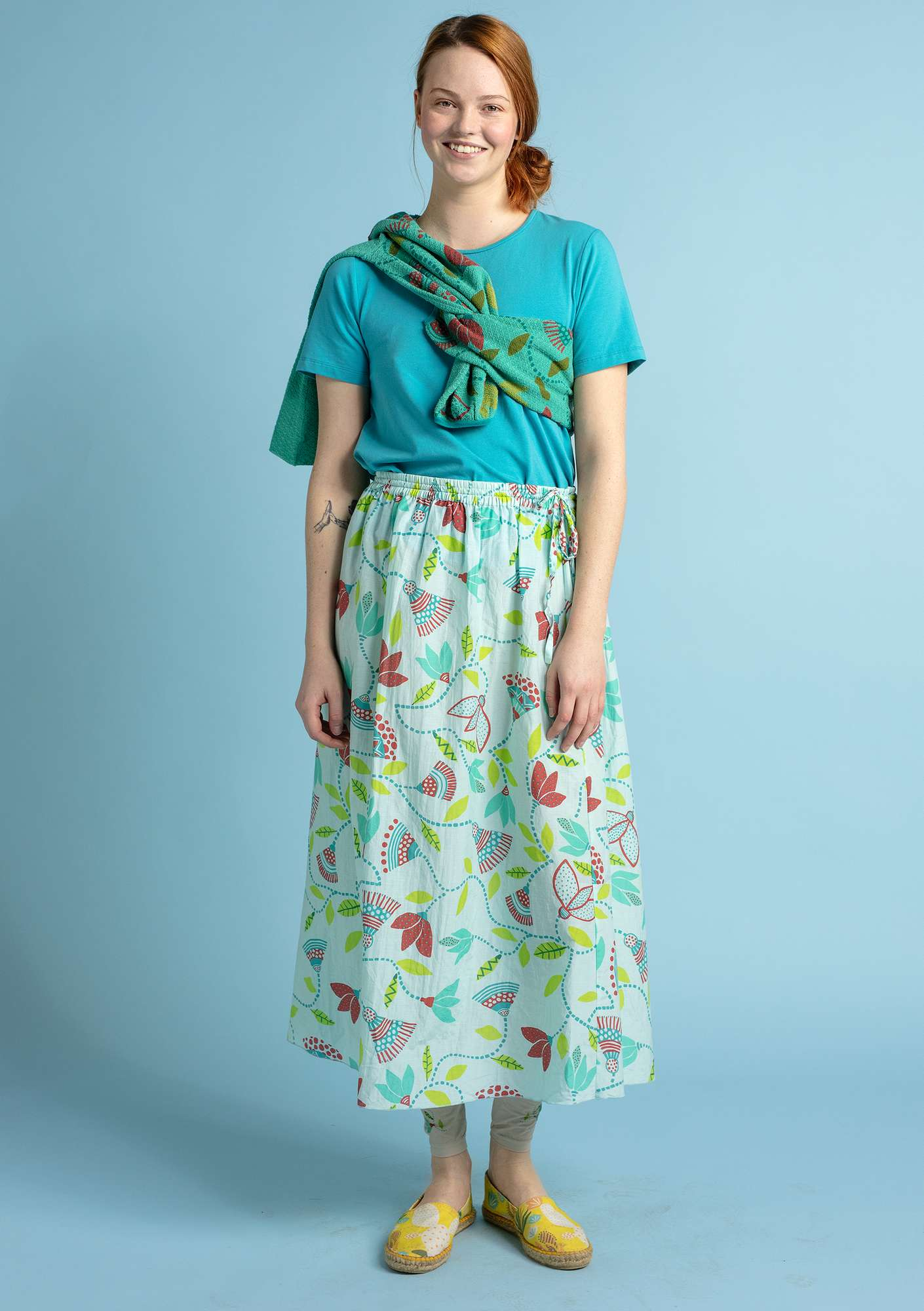 """Artemis"" skirt in organic cotton/silk light oriental green"
