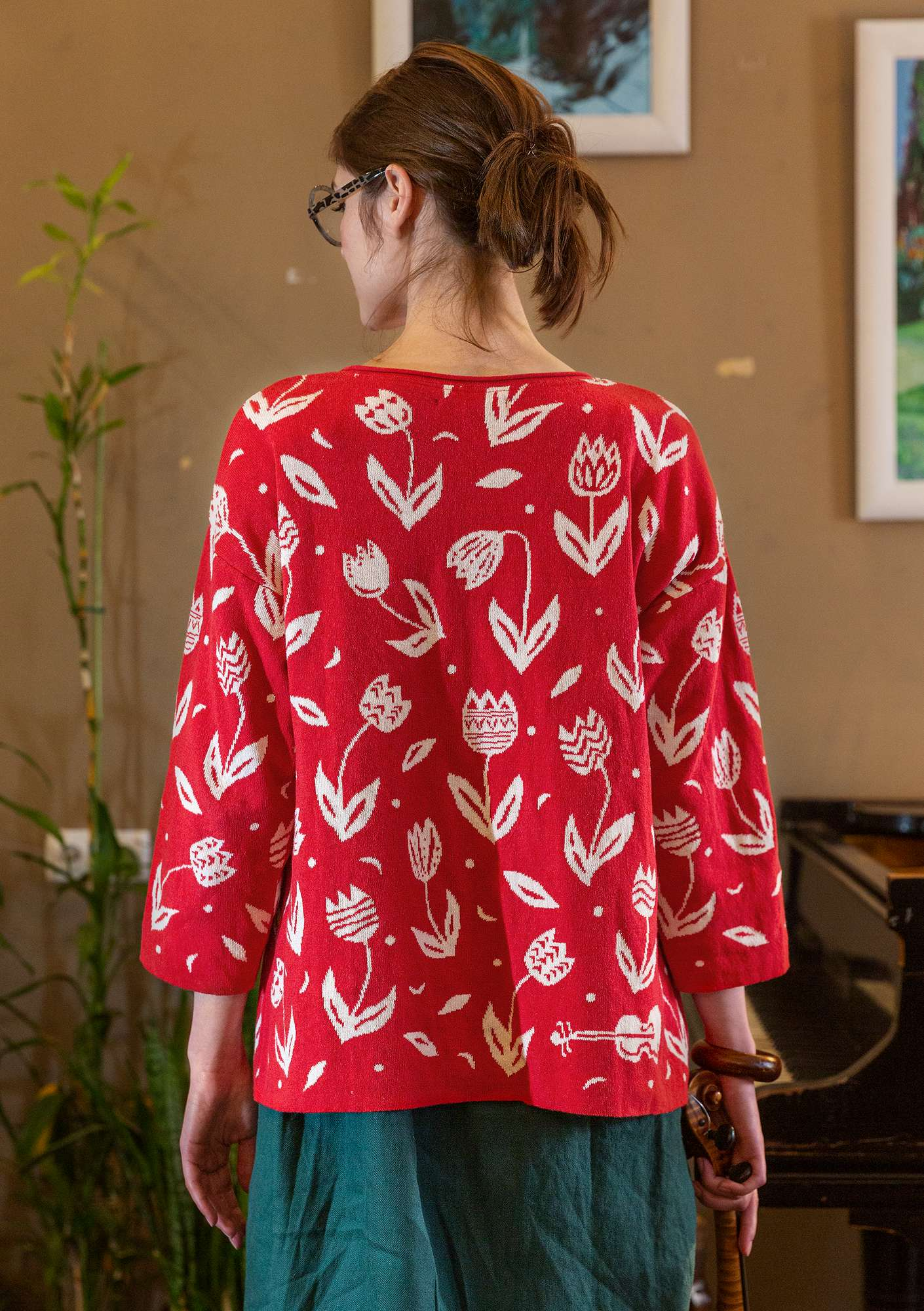 """Violin"" recycled cotton sweater bright red"
