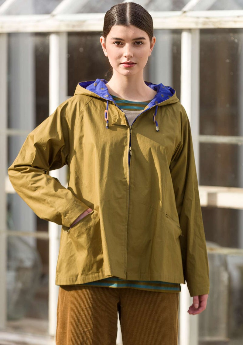 Recycled/organic cotton windbreaker dark olive