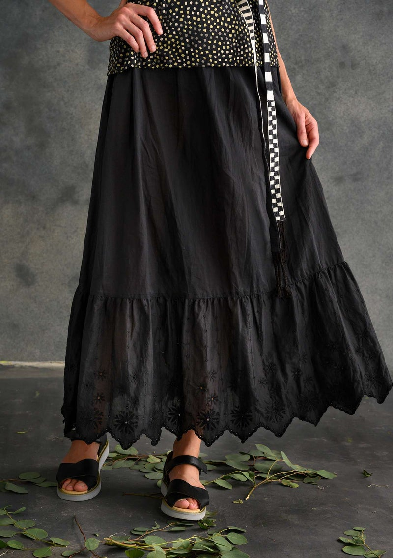 Ruffled organic cotton skirt black
