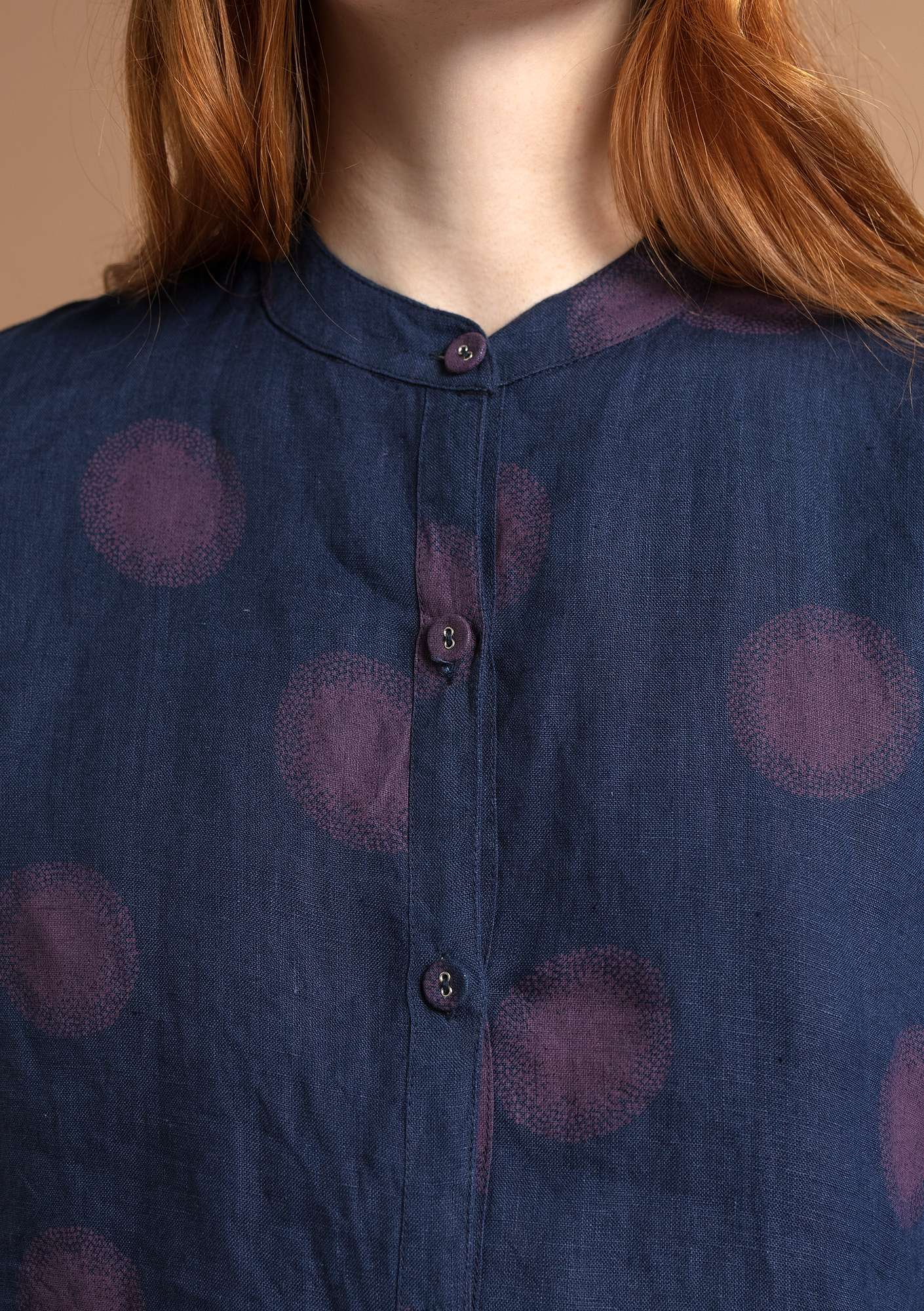 """Sia"" linen shirt blue/patterned"