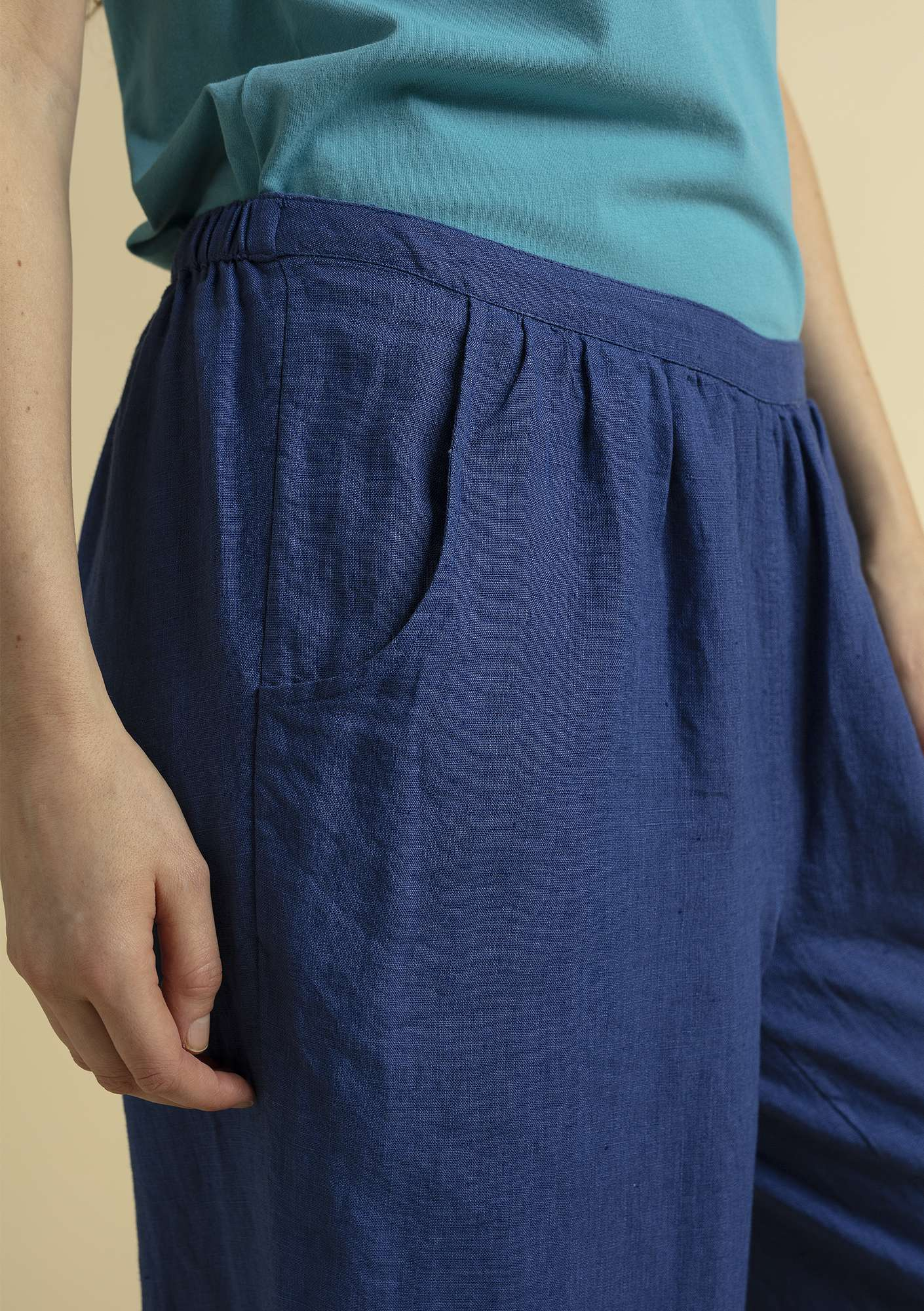 """Bouganvilla"" linen pants porcelain blue"