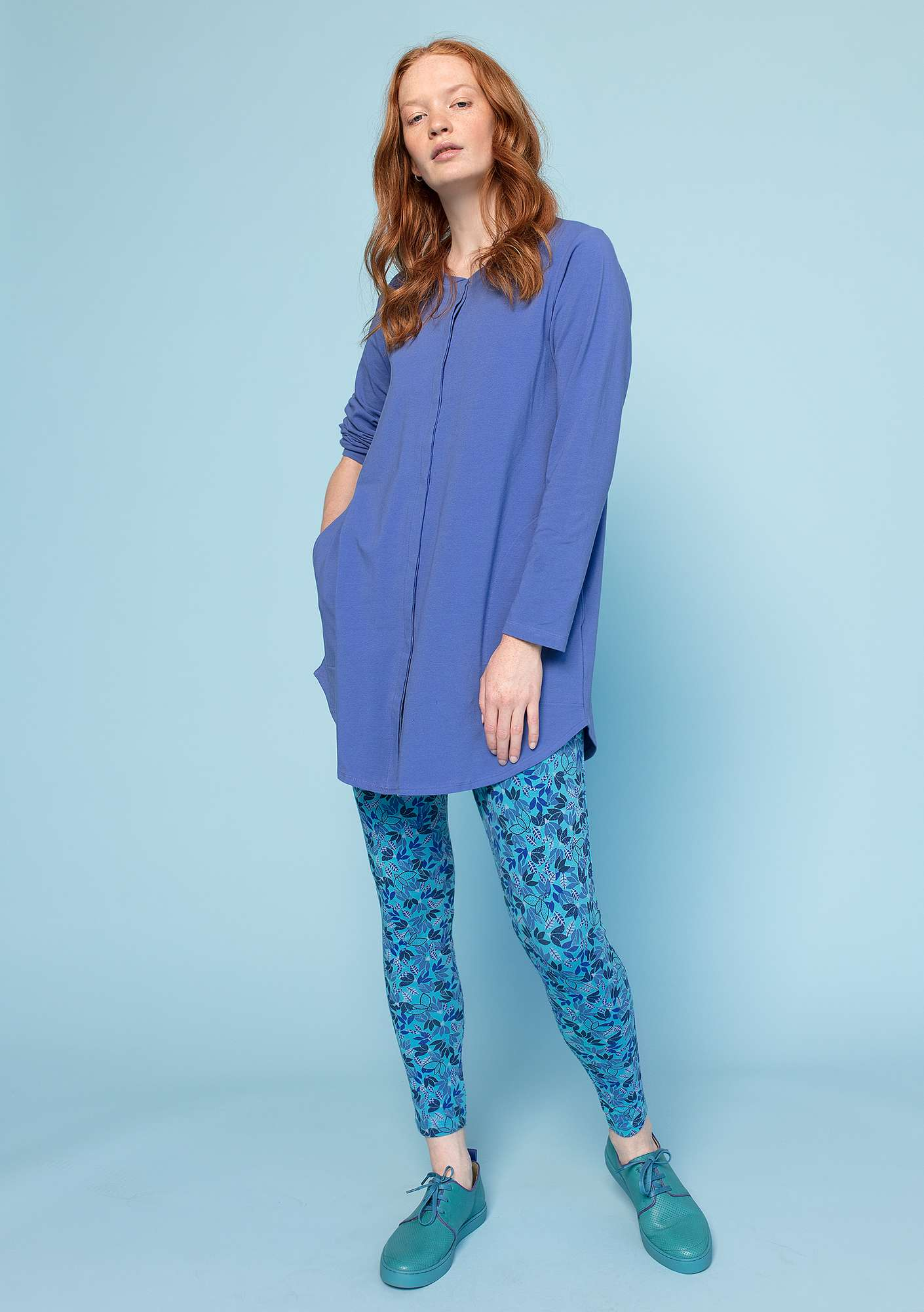 """Minerva"" leggings in organic cotton/elastane turquoise/patterned"