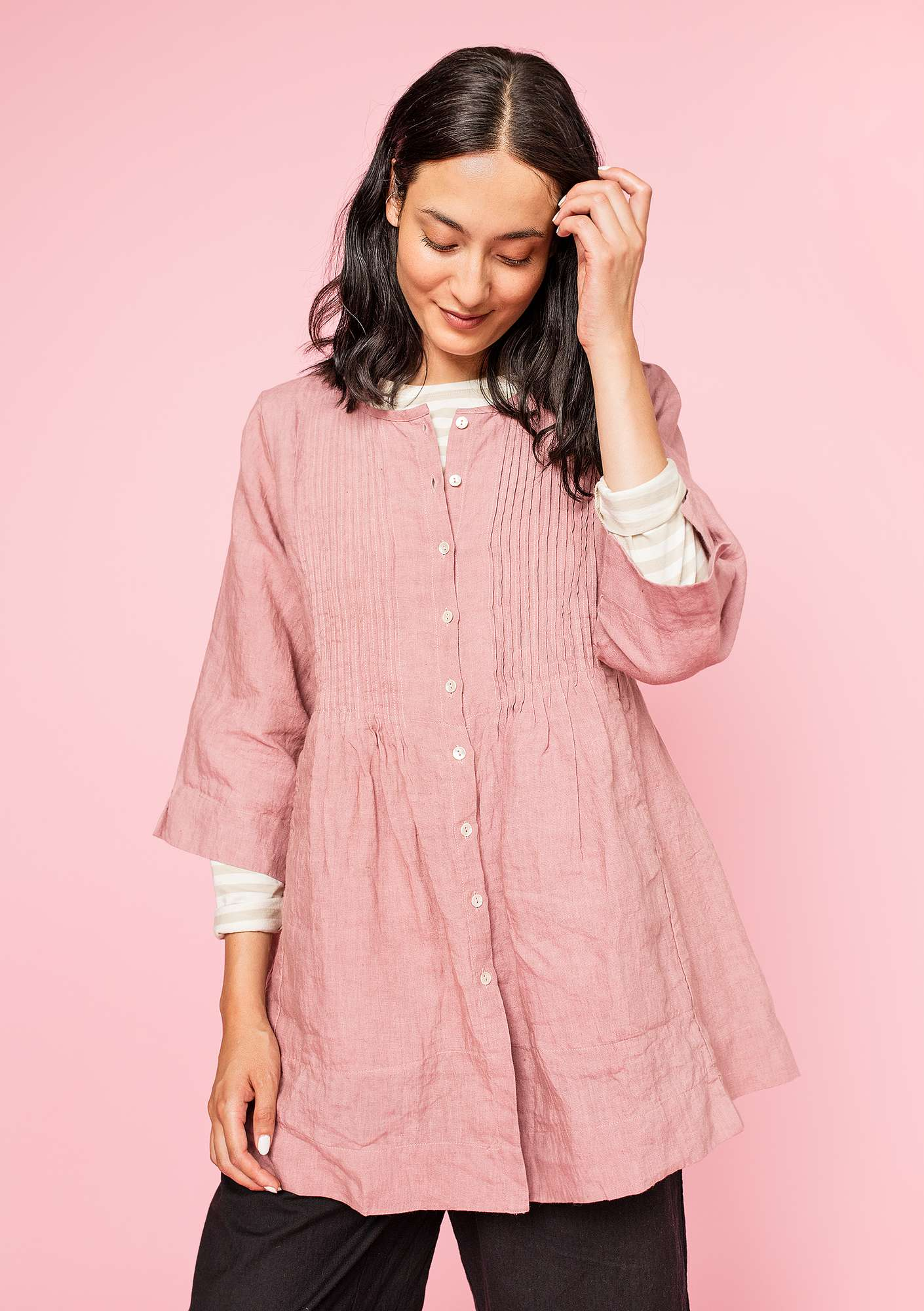 Tunic in linen powder pink