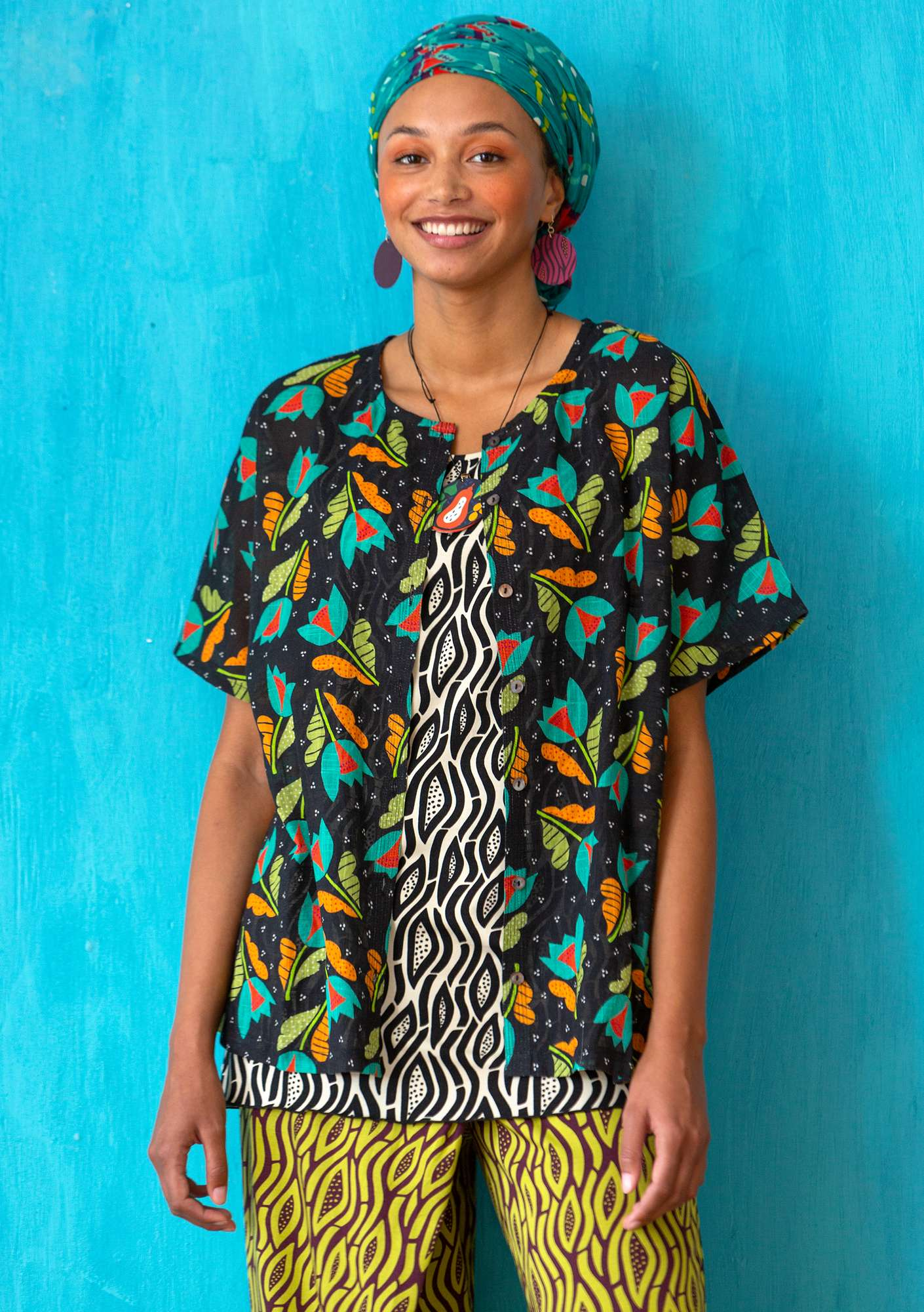 Blouse Makeba black/patterned