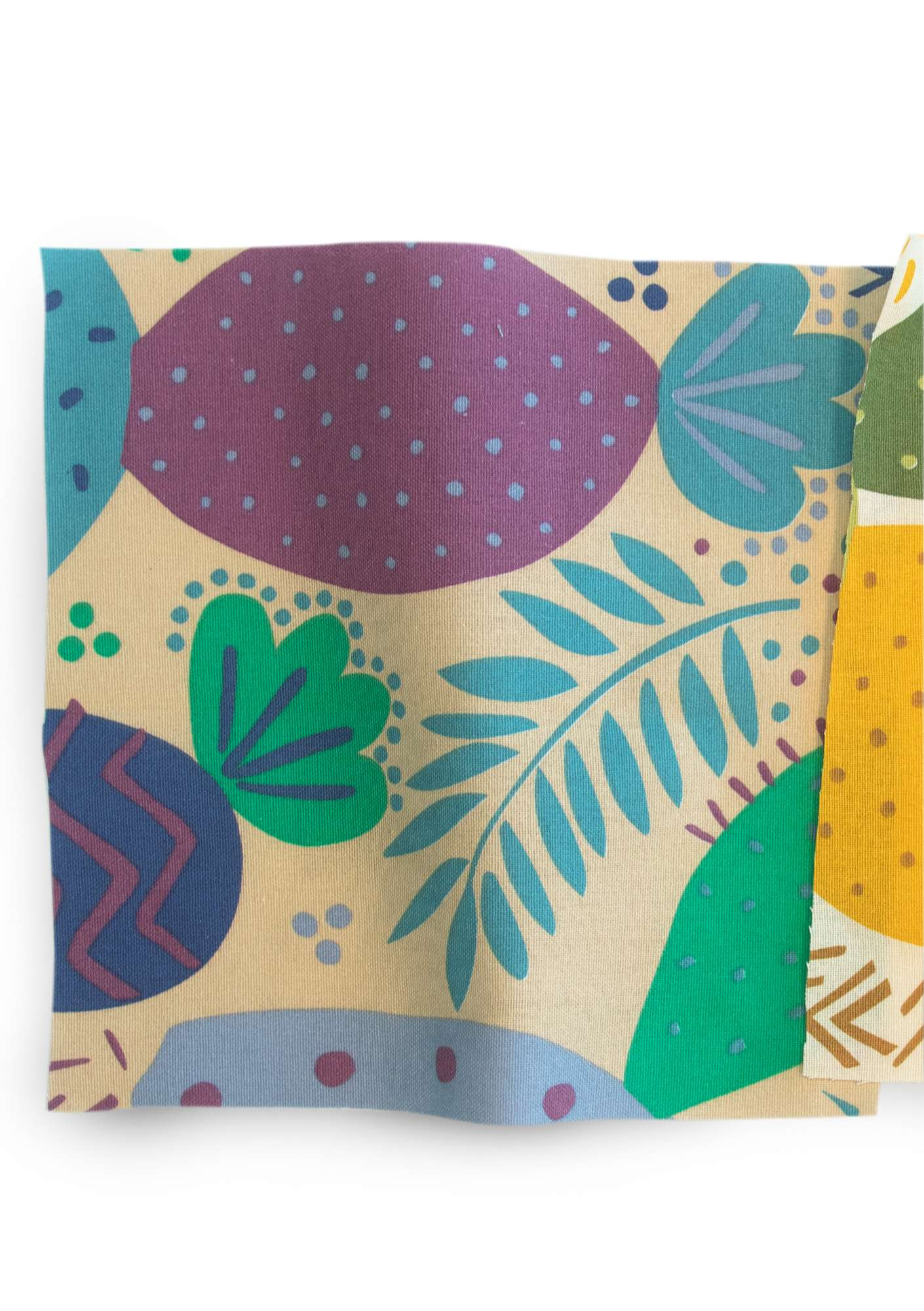 """Cactus"" organic cotton fabric medium blue"