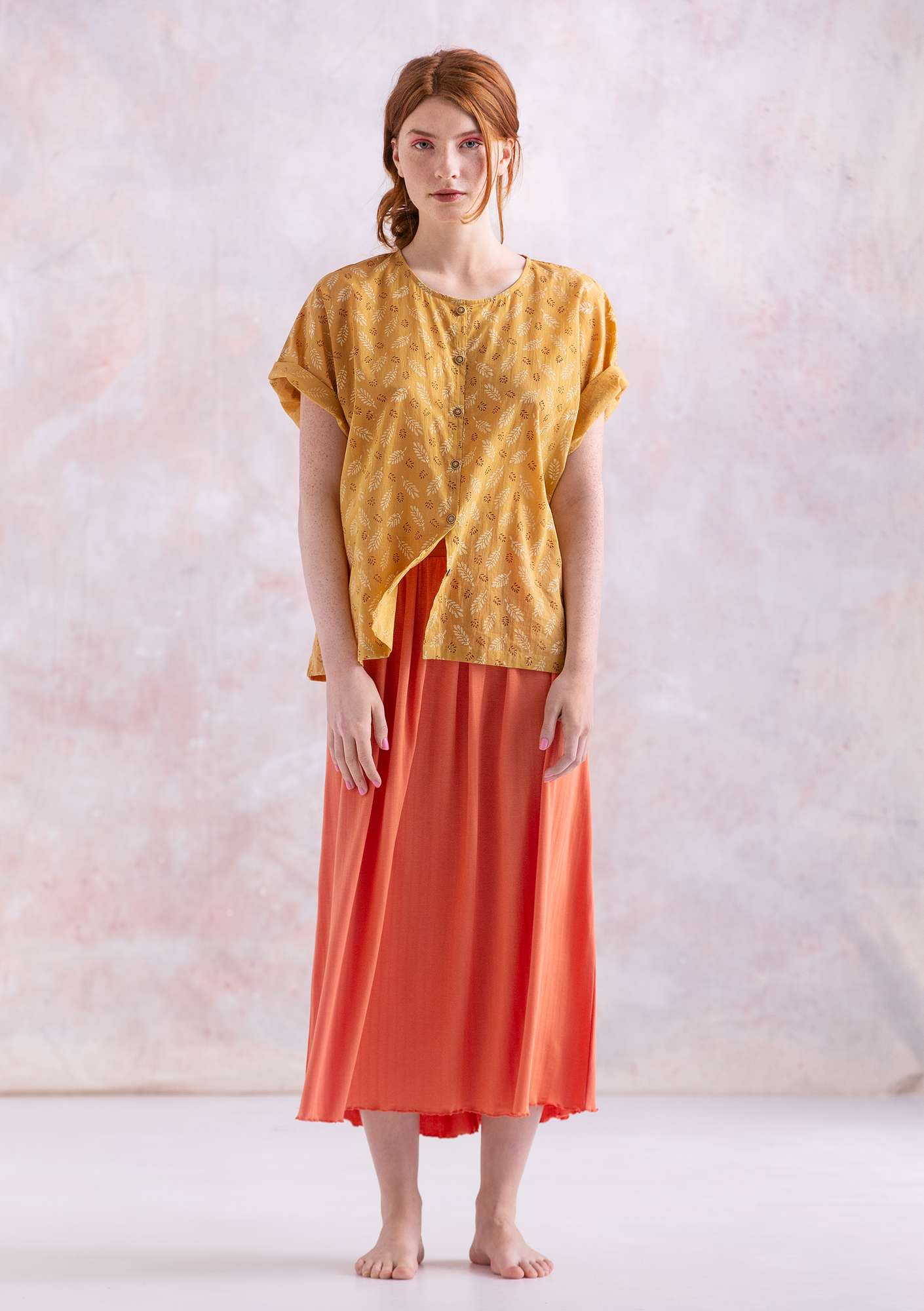 """Soho"" blouse in eco-cotton light ocher"