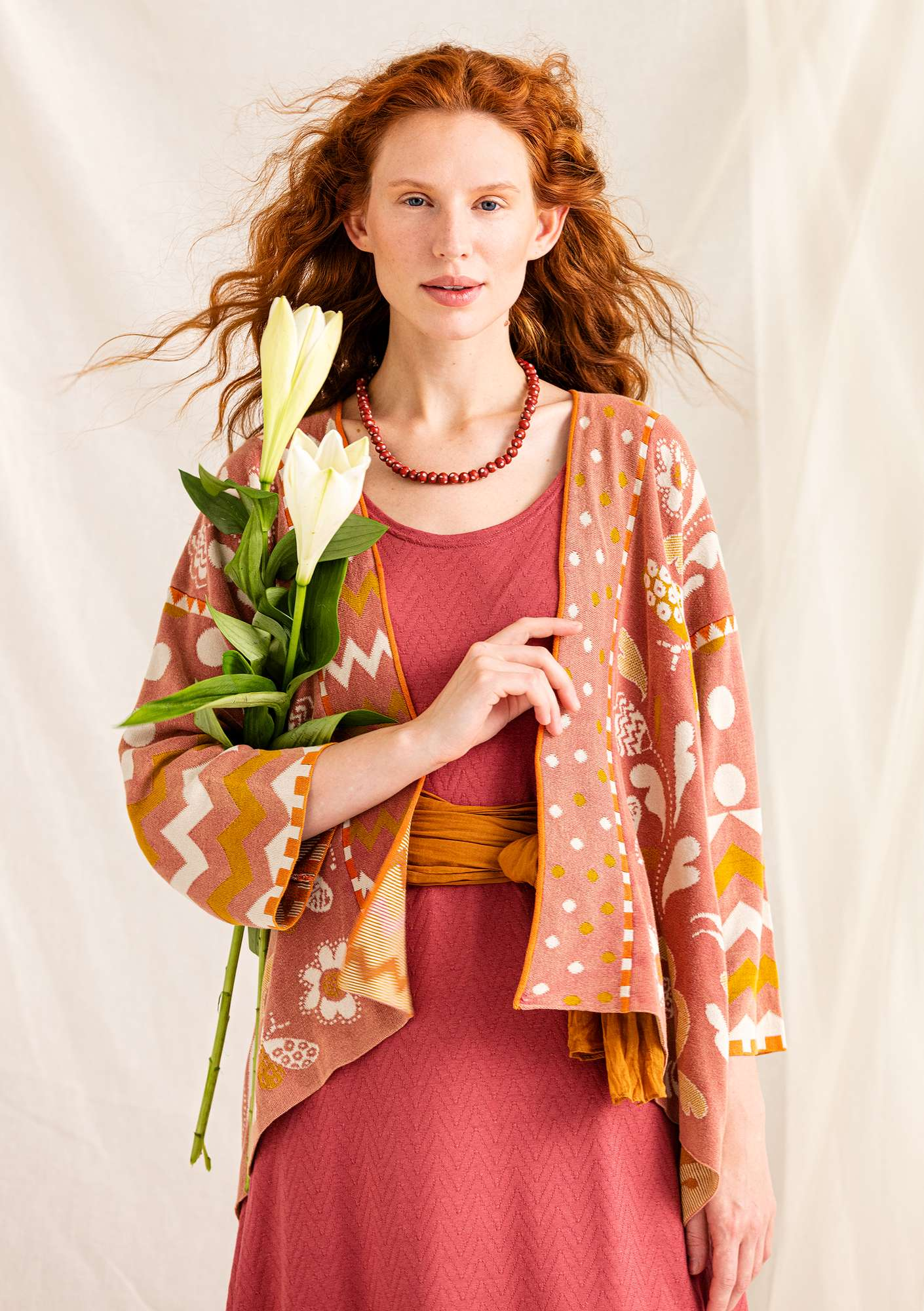 """Dragonfly"" organic cotton wraparound cardigan fig"